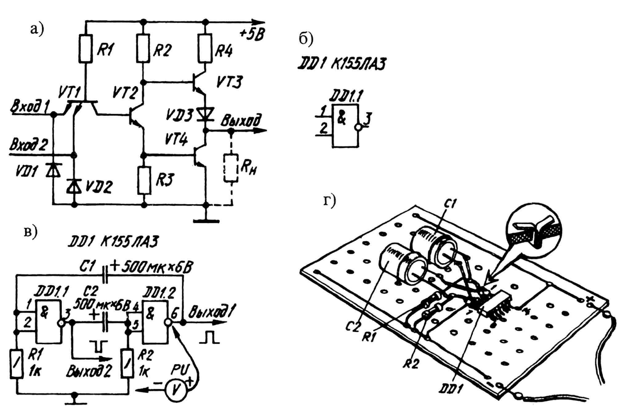 Рис. 1. Электронная «начинка» логического элемента 2И-НЕ (а) МС К155ЛАЗ и его условное графическое обозначение (б), а также выполненная на двух 2И-НЕ принципиальная электрическая схема автоколебательного мультивибратора (в) и последующие эксперименты с ней на монтажной плате (г).