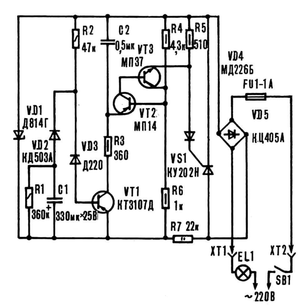 Рис. 1. Принципиальная электрическая схема устройства для плавного включения активной нагрузки мощностью до 100 Вт.