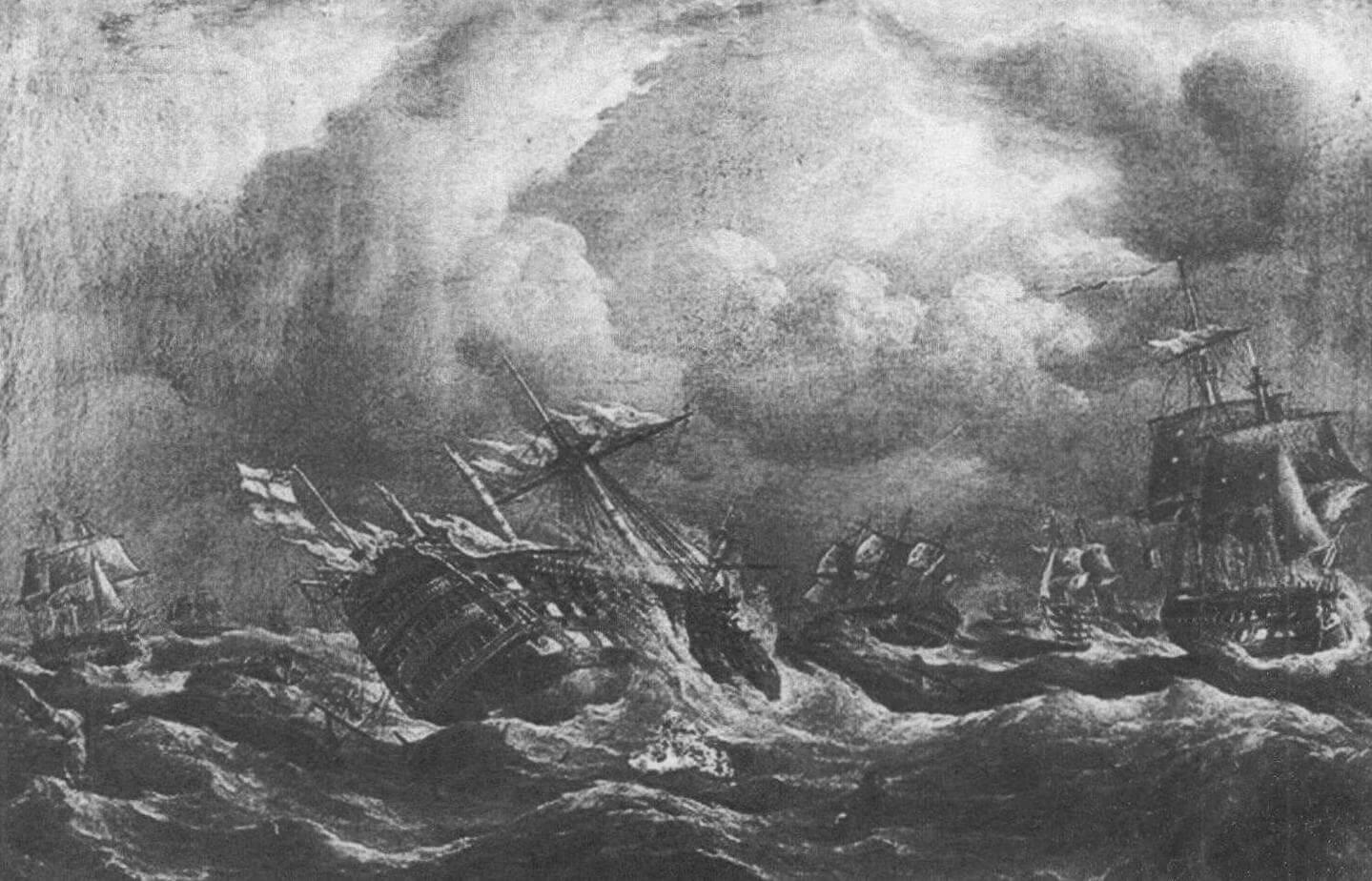 Гибель линейного корабля «Сантисима Тринидад» во время шторма, разыгравшегося после Трафальгарского сражения. На корме линкора над испанским флагом развивается британский...