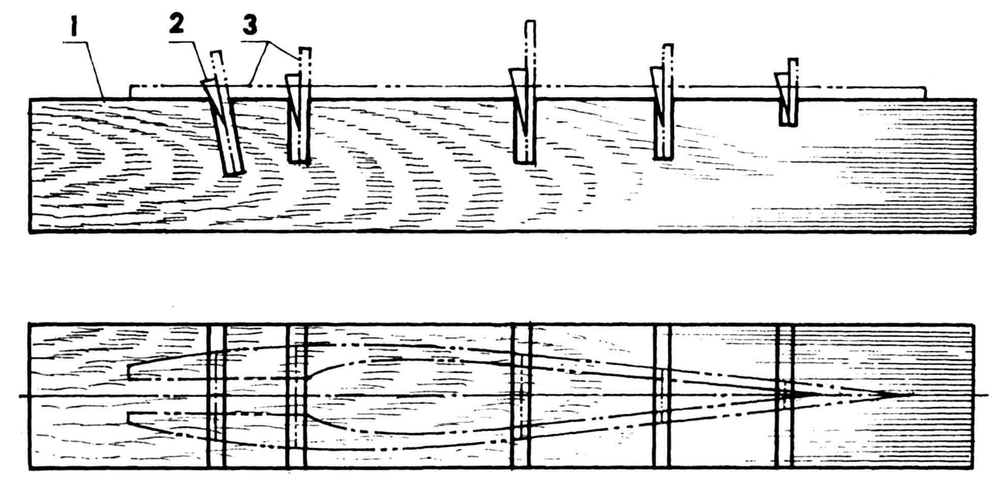 Устройство приспособления для сборки фюзеляжа: 1 — стапель (деревянный брусок 60x60, L600); 2 — клин (5 шт.); 3 — элементы силового набора фюзеляжа.