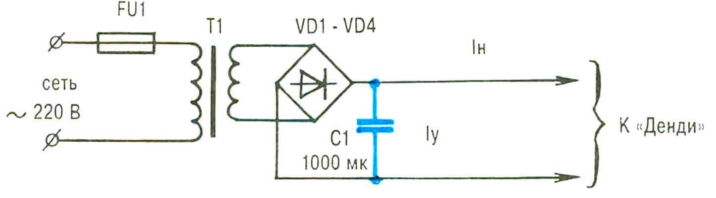 Принципиальная электрическая схема блока питания игровой приставки. «Узкое место» ее — электролитический конденсатор (выделен контрастным цветом).