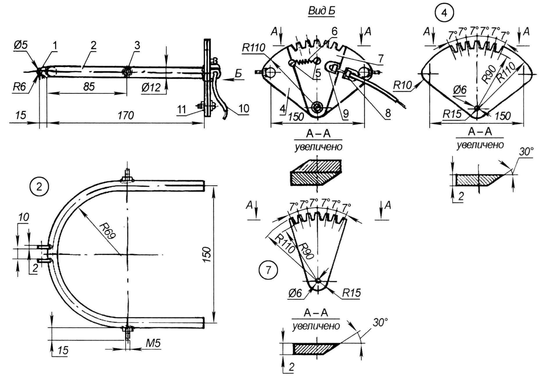 Рамка с режущим механизмом: 1 - вилка-шарнир; 2 - рамка (труба ø 12 мм); 3 - шарнир навески рамки (болты с резьбой М5); 4 - неподвижный сектор; 5 - винты с резьбой М4; 6 - возвратная пружина; 7 - подвижный сектор; 8 - упор оболочки троса; 9 - упор троса; 10 - трос в оболочке; 11 - шарнир подвижного сектора (винт М6 с гайкой и шайбой)