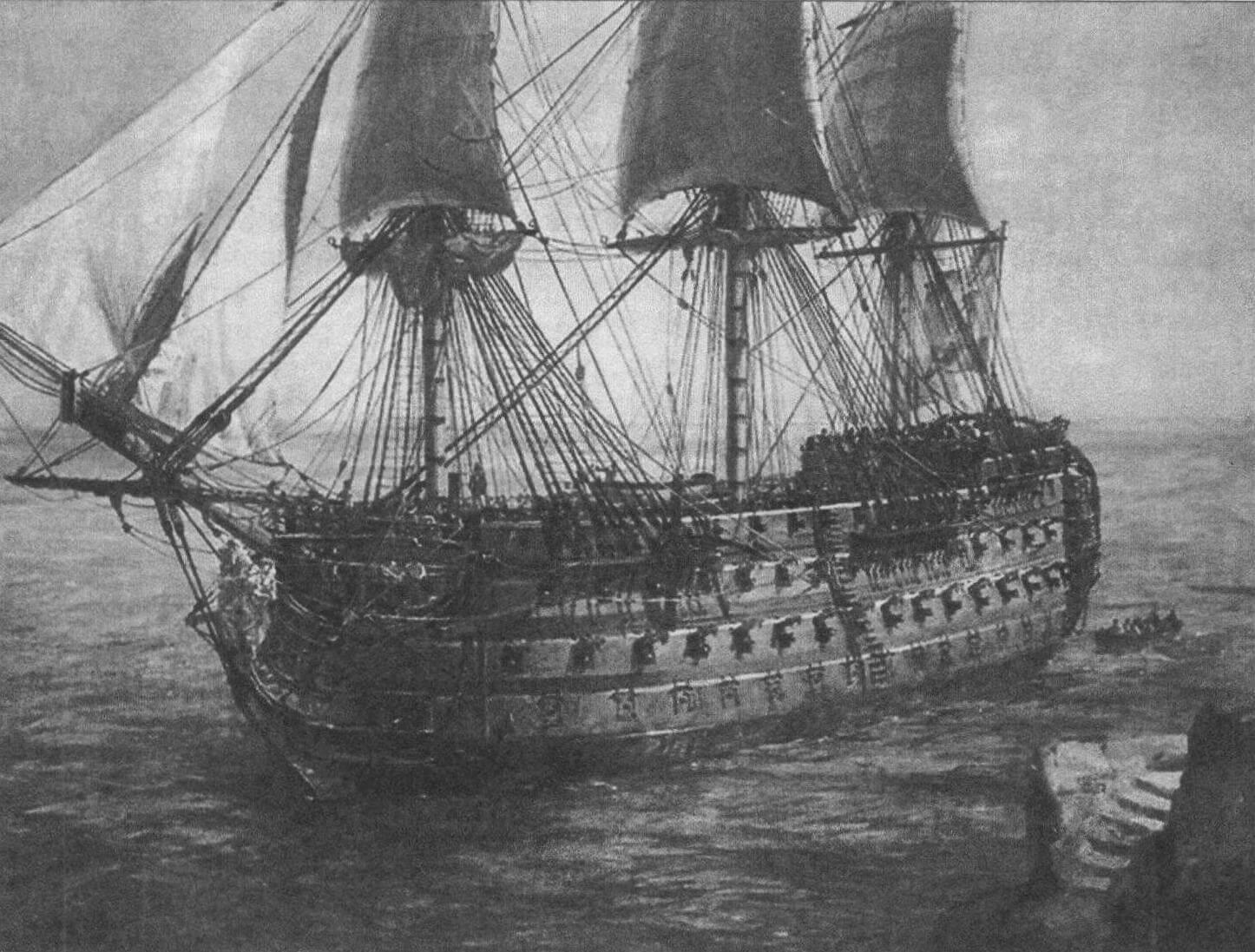 На этой картине «Сантисима Тринидад» изображен с частично поставленными парусами. Необычные характеристики и неординарная судьба сделали этот корабль «центром притяжения» внимания многих художников, а также исследователей и просто любителей истории...