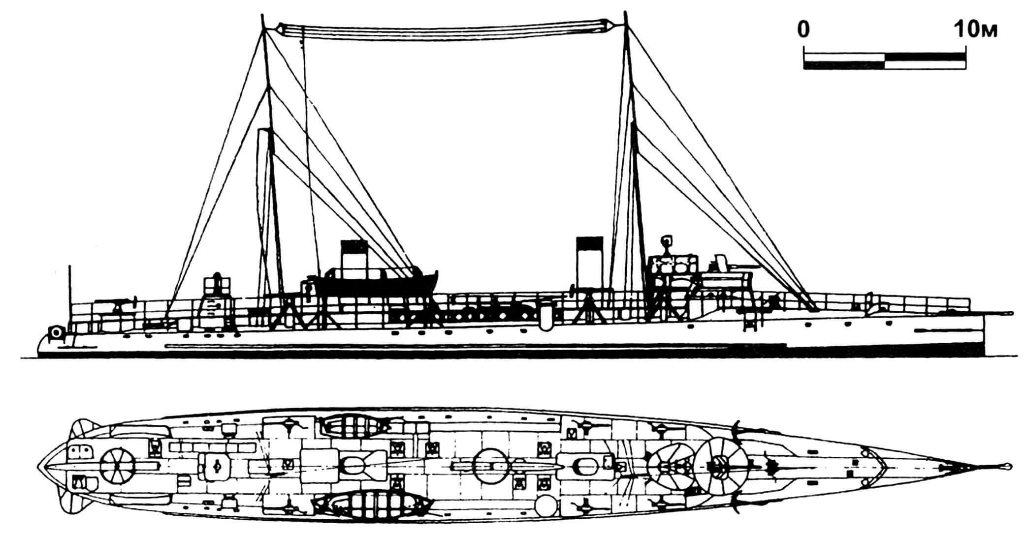 159. Эскадренный миноносец «Самсун», Турция, 1907 г. Строился во Франции фирмой «Шантье э Ателье де ля Жиронд». Водоизмещение нормальное 284 т. Длина наибольшая 58,2 м, ширина 6,3 м, осадка 2,8 м. Мощность двухвальной паросиловой установки 6000 л.с., скорость 28 узлов. Вооружение: одно 65-мм и шесть 47-мм орудий, два торпедных аппарата. Всего в 1906—1907 годах построено четыре единицы: «Самсун», «Ярхисар», «Ташоз» и «Басра». «Ярхисар» потоплен в 1915 г. английской подводной лодкой Е-11, остальные пережили Вторую мировую войну и были сданы на слом в 1949 г.