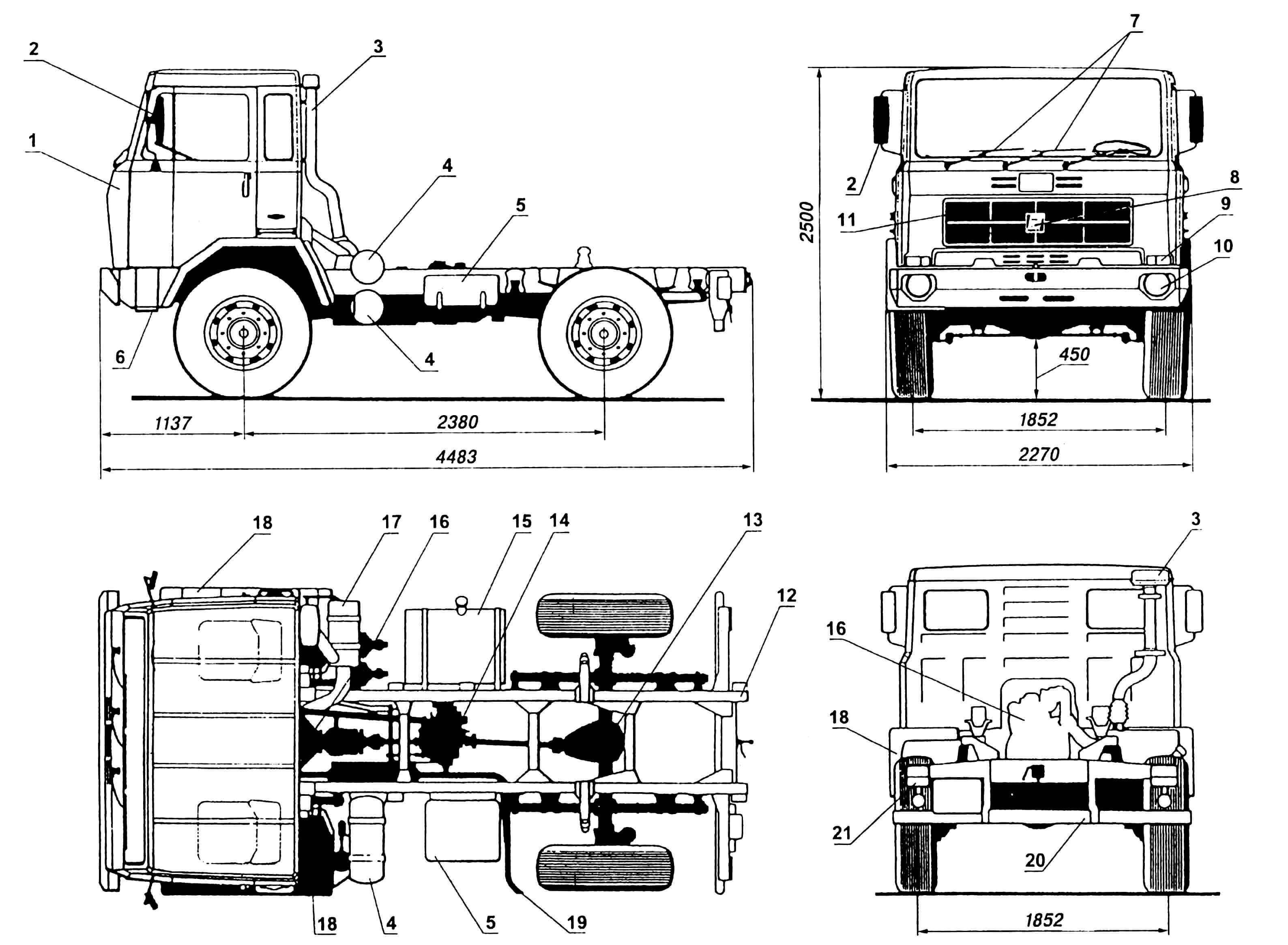 Автомобиль FIAT 65 PC: 1 — кабина; 2 — зеркала заднего вида; 3 — воздухозаборник; 4 — рессиверы гидросистемы; 5 — ящик аккумуляторный; 6 — подножка; 7 — стеклоочистители; 8 — эмблема IVECO; 9 — блок передних фонарей; 10 — фара; 11 — облицовка радиатора; 12 — рама; 13 — передача главная и дифференциал; 14 — коробка раздаточная; 15 — бак топливный; 16 — двигатель; 17 — фильтр воздушный; 18 — оперение; 19 — труба выхлопная; 20 — брус отбойный; 21 — блок задних фонарей.
