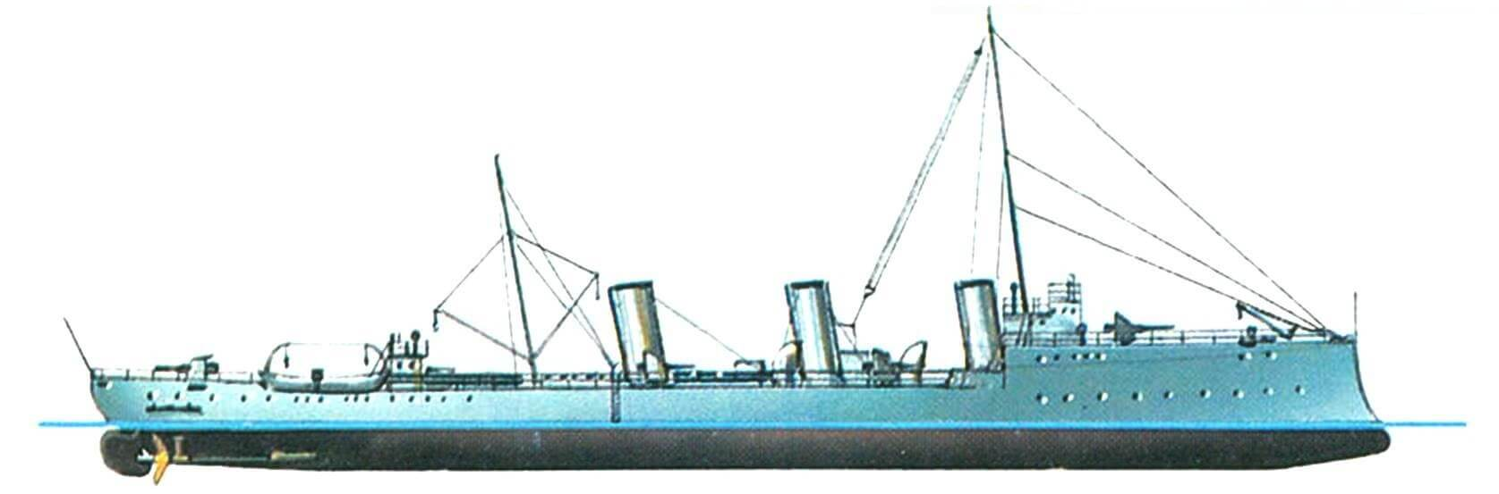 161. Минный крейсер «Украйна», Россия, 1905 г. Строился в Риге по проекту фирмы «Вулкан». Водоизмещение проектное 500 т, фактическое 630 т. Длина наибольшая 73,2 м, ширина 7,23 м, осадка 2,3 м. Мощность двухвальной паросиловой установки 6200 л.с., скорость 25 узлов. Вооружение: две 75-мм и четыре 57-мм пушки, четыре пулемета, три торпедных аппарата. Всего построено восемь единиц: «Украйна», «Войсковой», «Туркменец Ставропольский», «Казанец», «Стерегущий», «Страшный», «Донской казак» и «Забайкалец».
