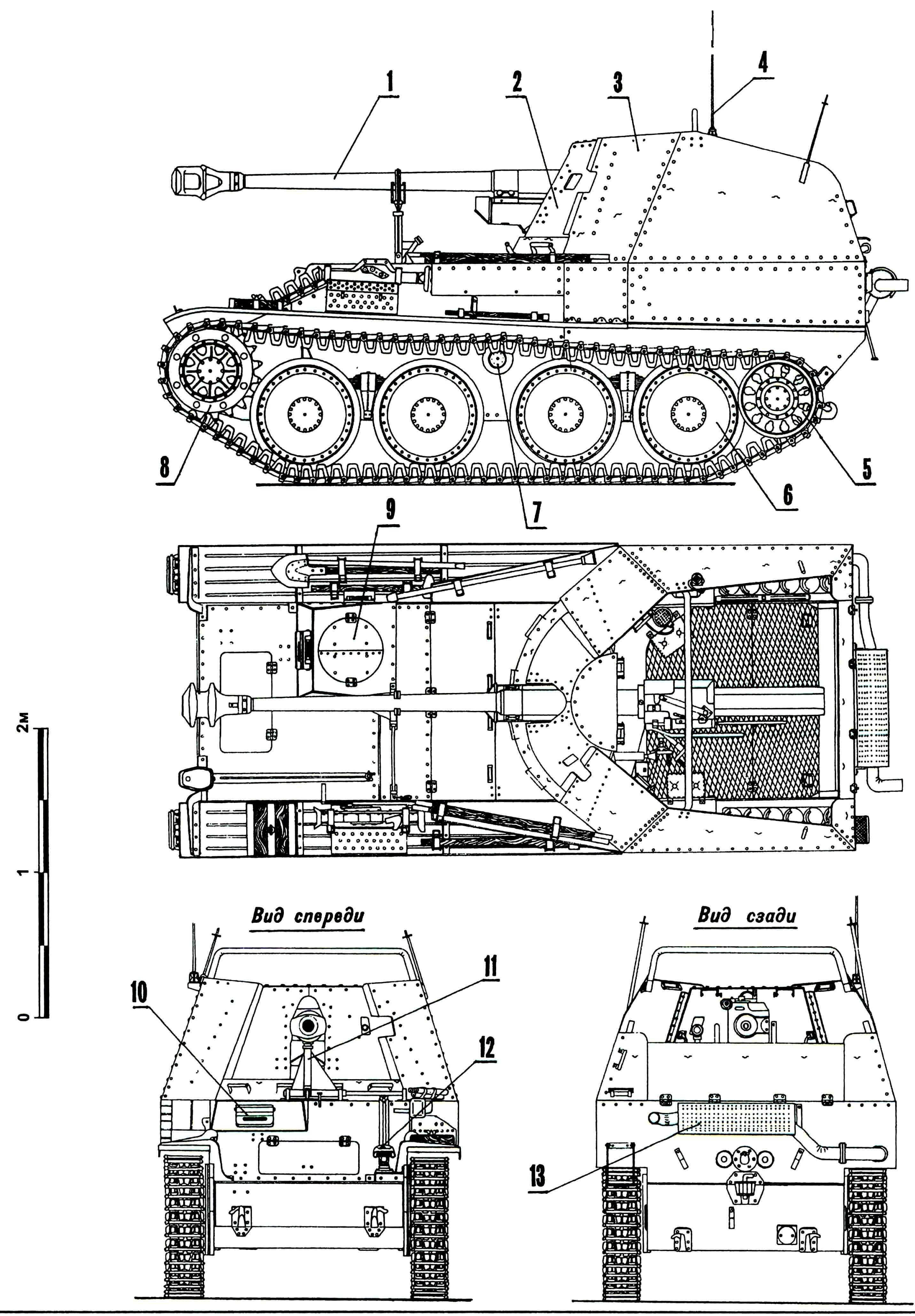 Самоходная установка Marder III Ausf.M (Sd.Kfz.138): 1 — пушка Pak 40/3 75-mm; 2 — бронировка подвижная; 3 — рубка; 4 — антенна; 5 — колесо направляющее; 6 — каток опорный; 7 — каток поддерживающий; 8 — колесо ведущее; 9 — люк механика-водителя; 10 — прибор наблюдения механика-водителя; 11 — кронштейн крепления пушки по-походному; 12 — фара Notek; 13 — глушитель.
