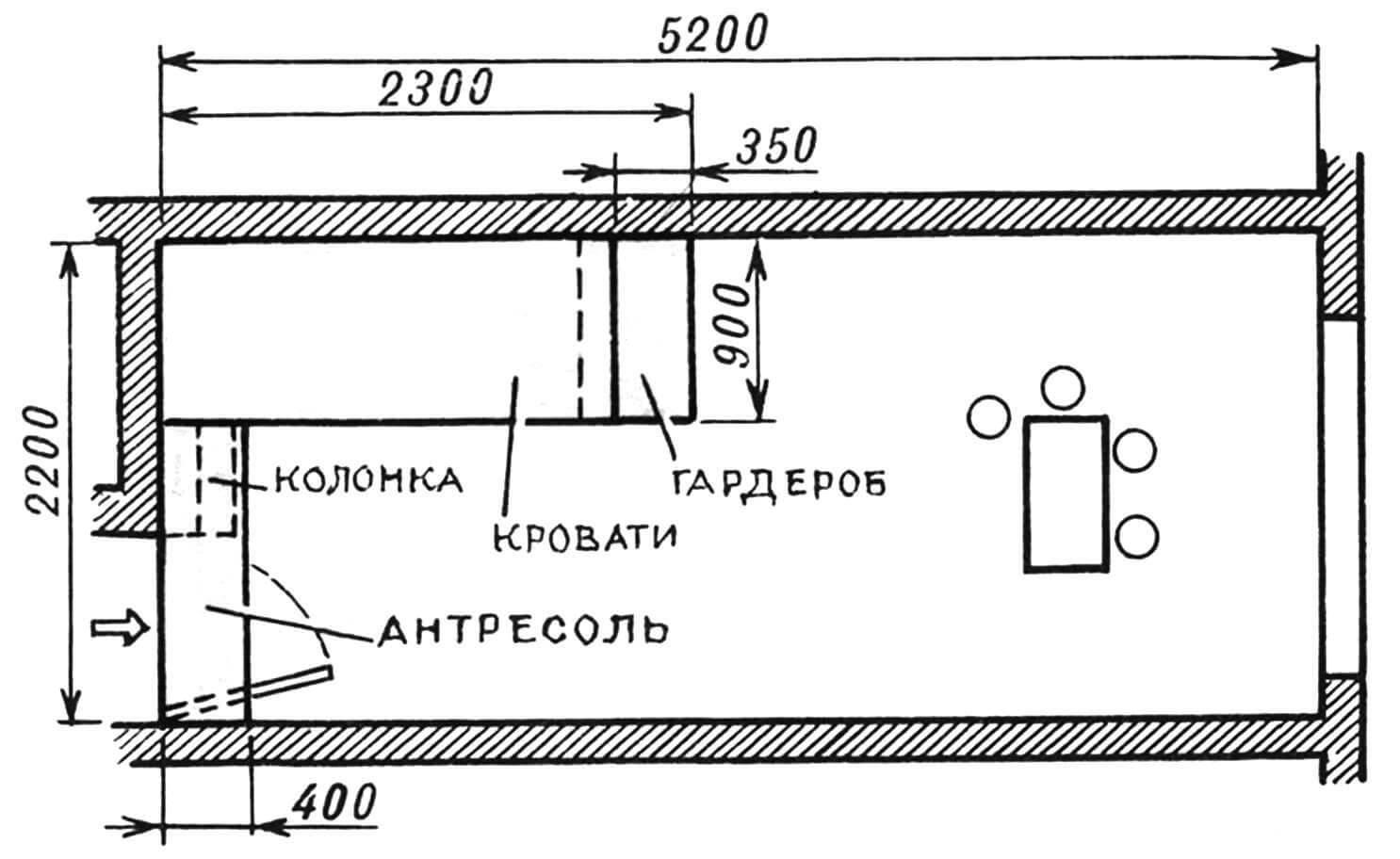 План малогабаритной комнаты с комбинированным детским уголком.