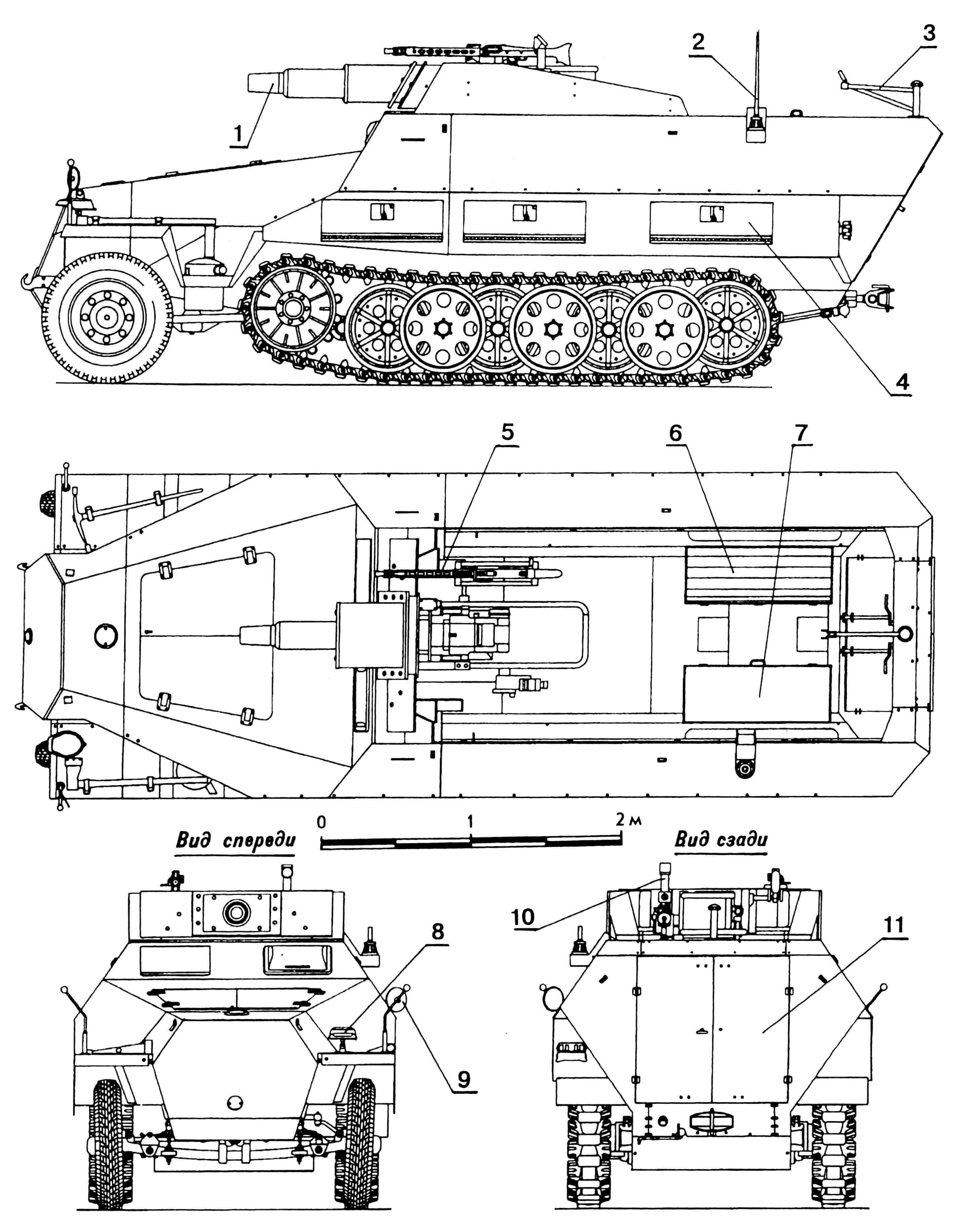 Бронетранспортер Sd.Kfz.251/9 Ausf.D: 1 — 75-мм пушка KWk 37; 2 — антенна; 3 — кронштейн зенитной установки; 4 — ящик для снаряжения; 5 — пулемет MG 34; 6 — сиденье расчета; 7 — ящик для боеприпасов; 8 — фара Notek; 9 — зеркало заднего вида; 10 — перископический прицел орудия; 11 — дверь для посадки расчета.