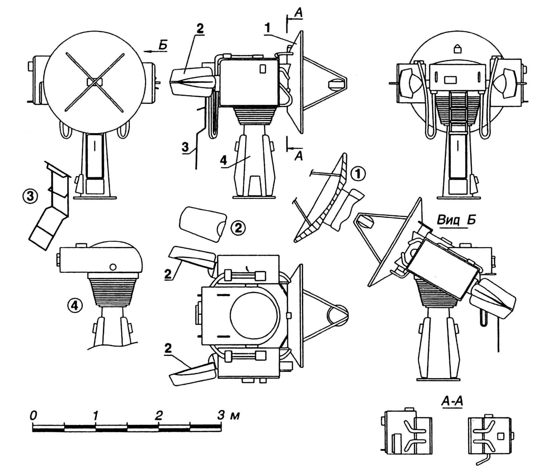 РЛС наведения артиллерийских систем: 1 — рефлектор; 2 — компенсатор аэродинамический; 3 — трап откидной; 4 — устройство опорно-поворотное. На виде Б рефлектор наклонен условно.