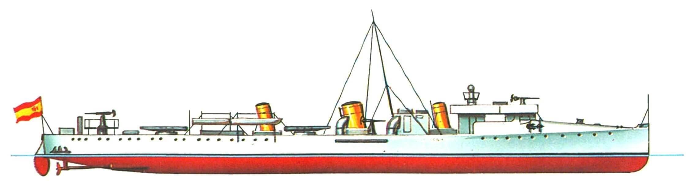 143. Эскадренный миноносец «Фурор», Испания, 1896 г. Строился шотландской фирмой «Томсон». Водоизмещение нормальное 380 т. Длина наибольшая 67,05 м, ширина 6,8 м, осадка 1,7 м. Мощность двухвальной паросиловой установки 6000 л.с., скорость 28 узлов. Вооружение: две 76-мм и две 57-мм пушки, два пулемета, два 356-мм торпедных аппарата. Всего в 1896—1898 годах построено 6 единиц: «Фурор», «Террор», «Аудас», «Осадо», «Плутон» и «Прозерпина». Последние четыре имели нормальное водоизмещение 400 т, мощность машин 7500 л.с. и проектную скорость 30 узлов, «Фурор» и «Плутон» погибли 3 июля 1898 года в бою у Сантьяго-де-Куба, остальные сданы на слом в 1925—1932 гг.