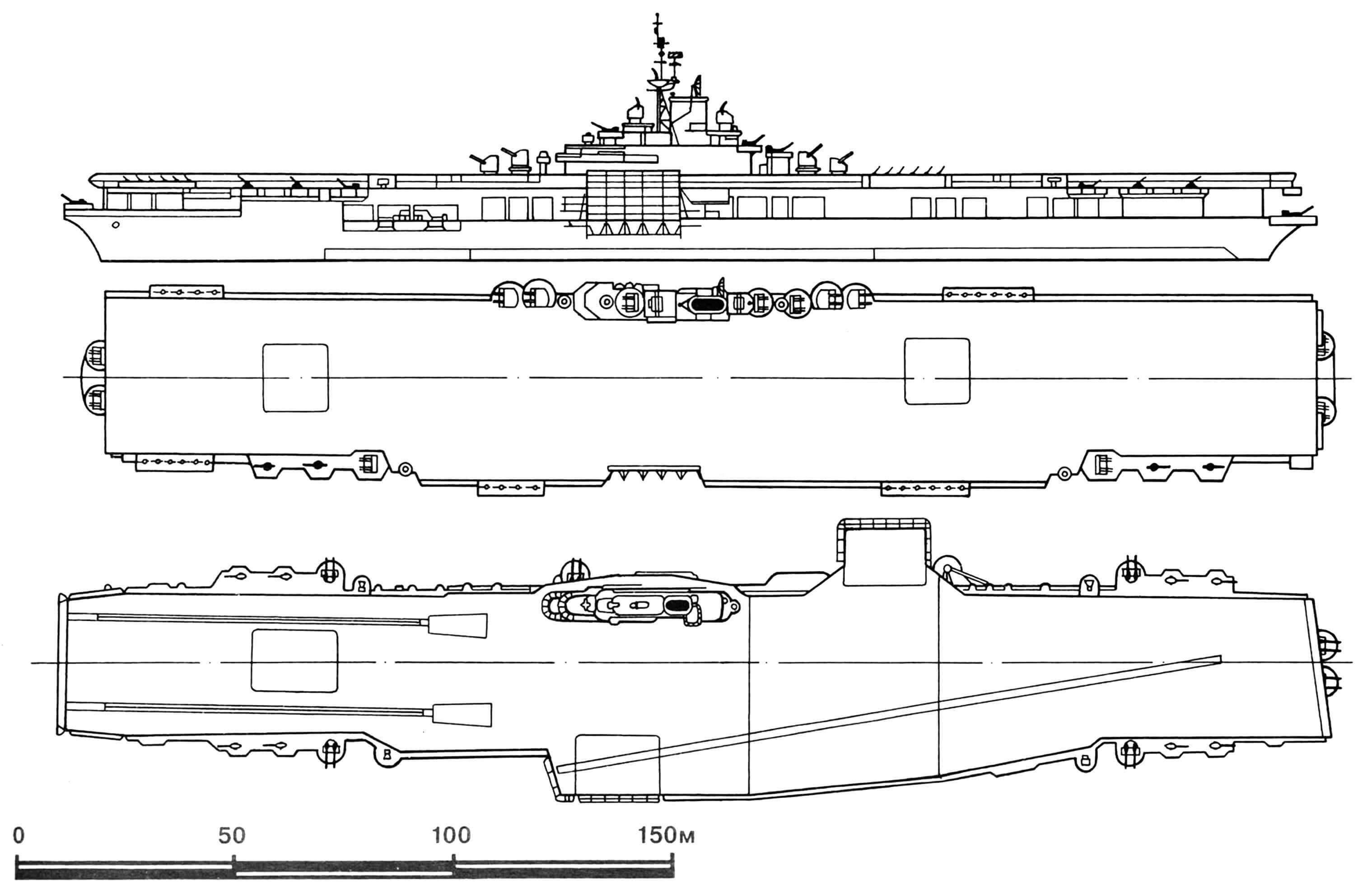 Ударный авианосец «Эссекс» до модернизации и после.