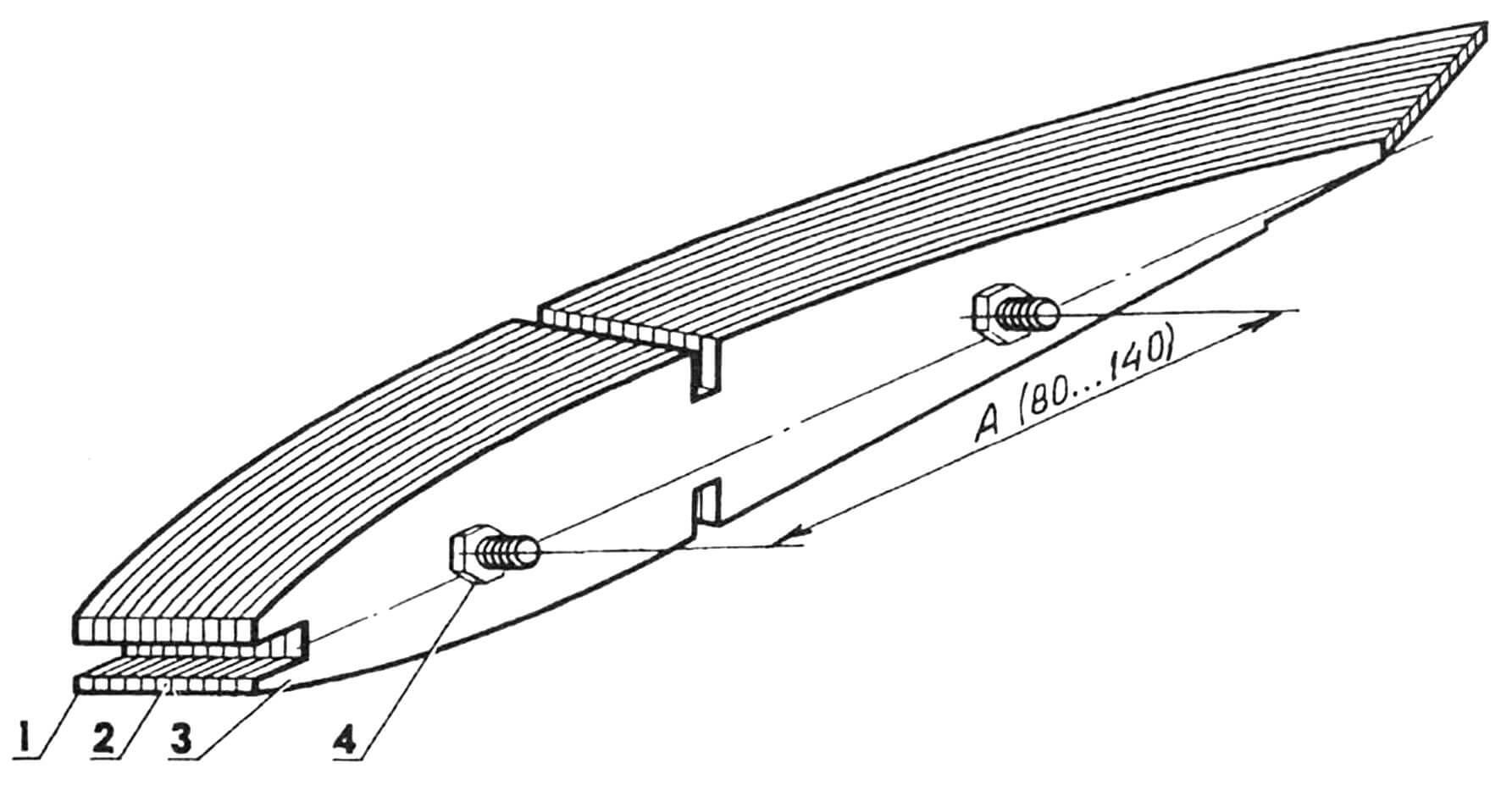 Пакет нервюр: 1 — шаблон корневой нервюры; 2 — пакет опиливаемых заготовок нервюр; 3 — шаблон концевой нервюры; 4 — болт с гайкой (2 шт.).