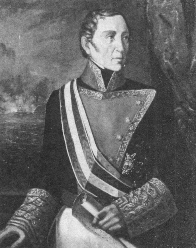 Портрет Франсиско Хавьера де Уриарте-и-Борха (в адмиральском мундире). В октябре 1805 года храбрый моряк в звании бригадира командовал самым большим в испанском флоте кораблем, а впоследствии занимал самые ответственные посты и вышел в отставку уже в чине капитан-генерала, то есть полного адмирала