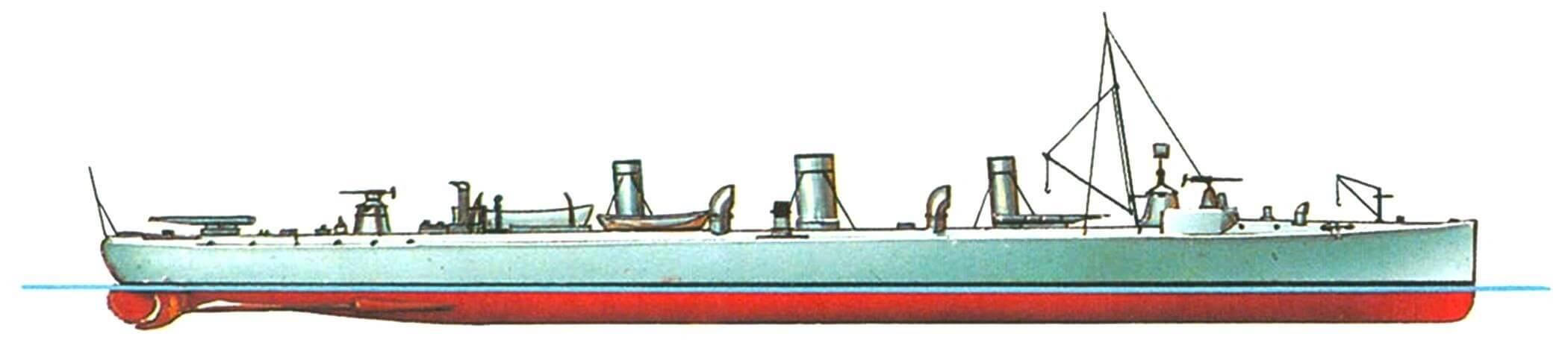 144. Эскадренный миноносец «Фульмине», Италия, 1900 г. Строился в Италии фирмой «Одеро». Водоизмещение нормальное 293 т, полное 337 т. Длина наибольшая 62,2 м, ширина 6,41 м, осадка 2,3 м. Мощность двухвальной паросиловой установки 4700 л.с., скорость 24 узла. Вооружение: пять 57-мм пушек, три 356-мм торпедных аппарата. Построена одна единица. Исключен из списков флота в 1921 г.