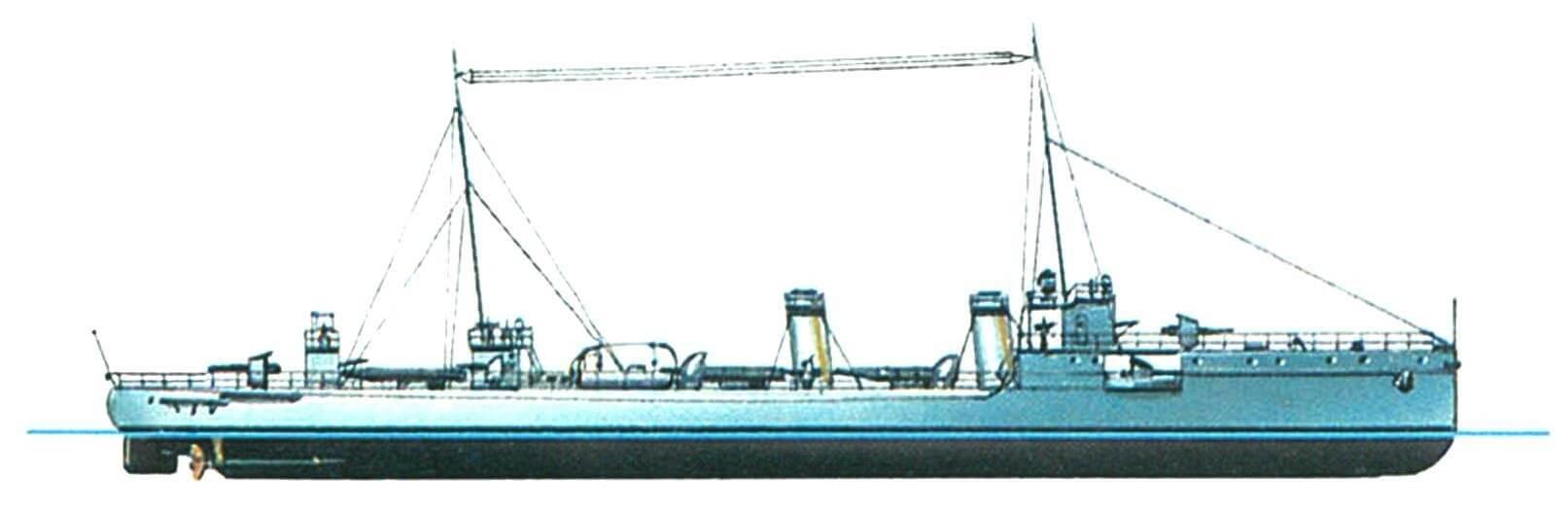 162. Минный крейсер «Всадник», Россия, 1906 г. Строился на верфи «Германия» в Киле. Водоизмещение проектное 570 т, фактическое 750 т. Длина наибольшая 71,8 м, ширина 7,4 м, осадка 2,5 м. Мощность двухвальной паросиловой установки 6400 л.с., скорость 25 узлов. Вооружение: как на «Эмире Бухарском». Всего построено четыре единицы: «Всадник», «Гайдамак», «Амурец» и «Уссуриец».