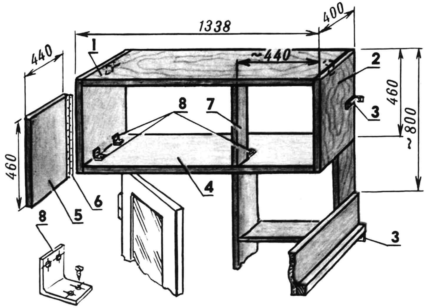 Антресоль: 1 — крышка; 2 — боковина; 3 — уголки крепления к стене; 4 — днище; 5 — дверка (3 шт.); 6 — петля рояльная (3 шт.); 7 — стойка; 8 — уголок мебельный (8 шт.).