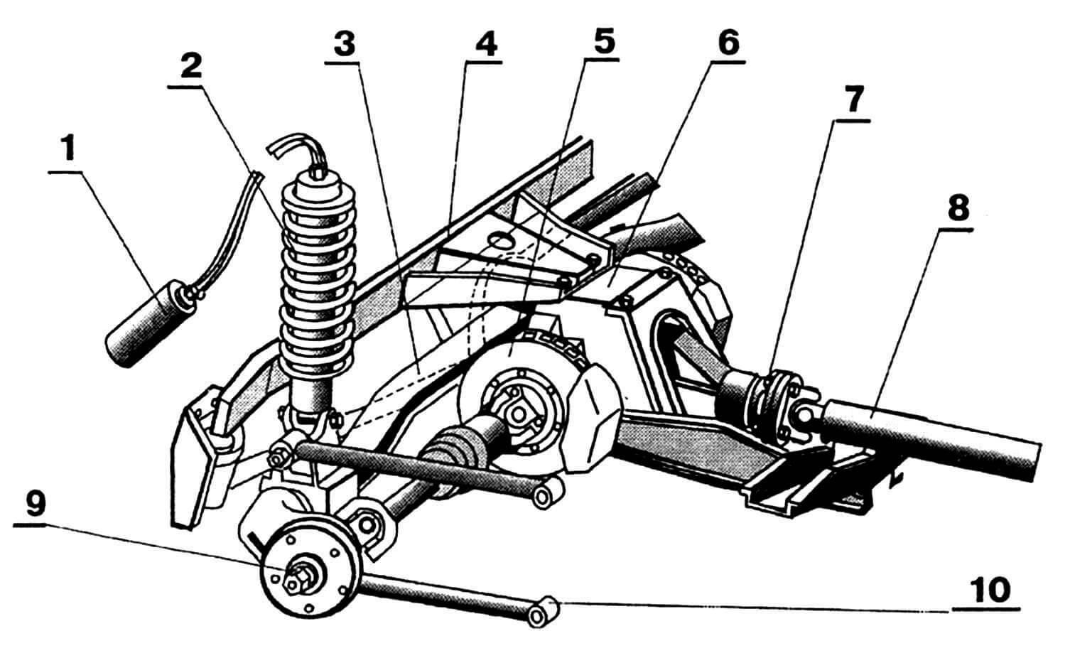 Задняя подвеска: 1 — баллон с газом для управляемого амортизатора Koni; 2 — пружина задней подвески; 3 — рычаг De Dion; 4 — балка поперечная; 5 — тормоз задний, дисковый (разнесенный); 6 — мост задний; 7 — шарнир карданный; 8 — вал карданный; 9 — полуось; 10 — рычаг продольный.