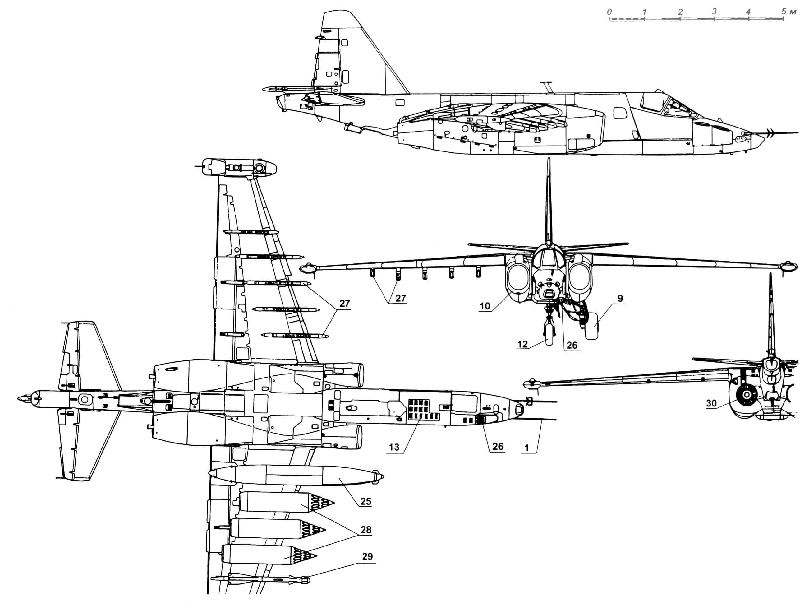 Штурмовик Су-25: 1 — приемники воздушного давления; 2 — фонарь кабины; 3 — антенна УКВ; 4 — антенна УКВ, килевая; 5 — руль направления; 6 — антенна системы оповещения радиолокационного облучения «Сирена-3»; 7 — контейнер тормозного парашюта; 8 — антенна КВ-радиостанции Р-828; 9 — колесо основной опоры; 10 — воздухозаборники двигателей; 11 — лестница откидная; 12 — колесо передней опоры; 13 — жалюзи отсека казенной части пушки; 14 — кинофотопулемет СШ-45; 15 — перископ; 16 — горловина заправочная; 17—лючки быстросъемные; 18 — предкрылок; 19 — обтекатель антенны системы радиопротиводействия; 20 — гондола с тормозными щитками; 21 — элерон; 22 — секции двущелевого закрылка; 23 — кассеты с ИК-ловушками АСО-2И; 24 — руль высоты; 25 — бак подвесной топливный ПТБ-800; 26 — пушка; 27 — держатели балочные БД-3; 28 — блоки НУРС Б-8 с ракетами С-8; 29 — ракета класса «воздух — воздух» Р-60; 30 — сопло двигателя.