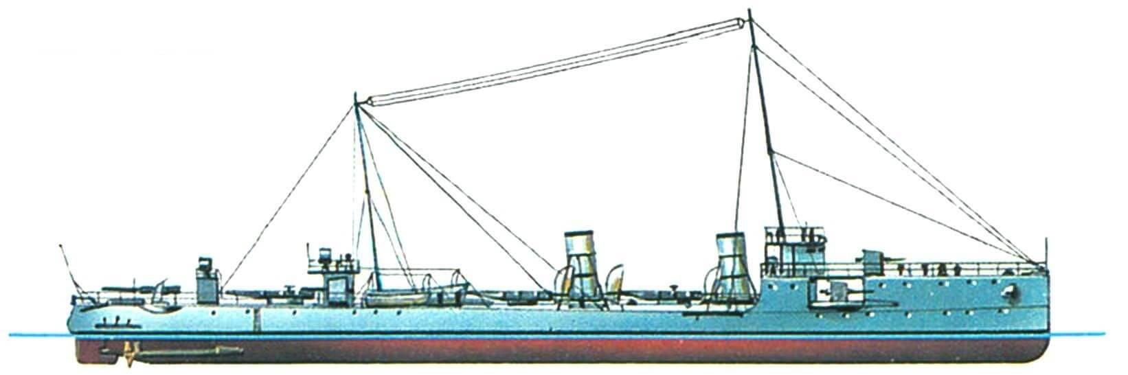 164. Эскадренный миноносец «Лейтенант Шестаков», Россия, 1909 г. Строился в Николаеве по усовершенствованному проекту фирмы «Крупп». Водоизмещение проектное 605 т, фактическое 780 т. Длина наибольшая 74,1 м, ширина 8,3 м, осадка 2,53 м. Мощность двухвальной паросиловой установки 6500 л.с., скорость 25 узлов. Вооружение: одна 1 20-мм и пять 75-мм пушек, два пулемета, три торпедных аппарата. Всего построено четыре единицы: «Лейтенант Шестаков», «Капитан Сакен», «Капитан-лейтенант Баранов» и «Лейтенант Зацаренный».