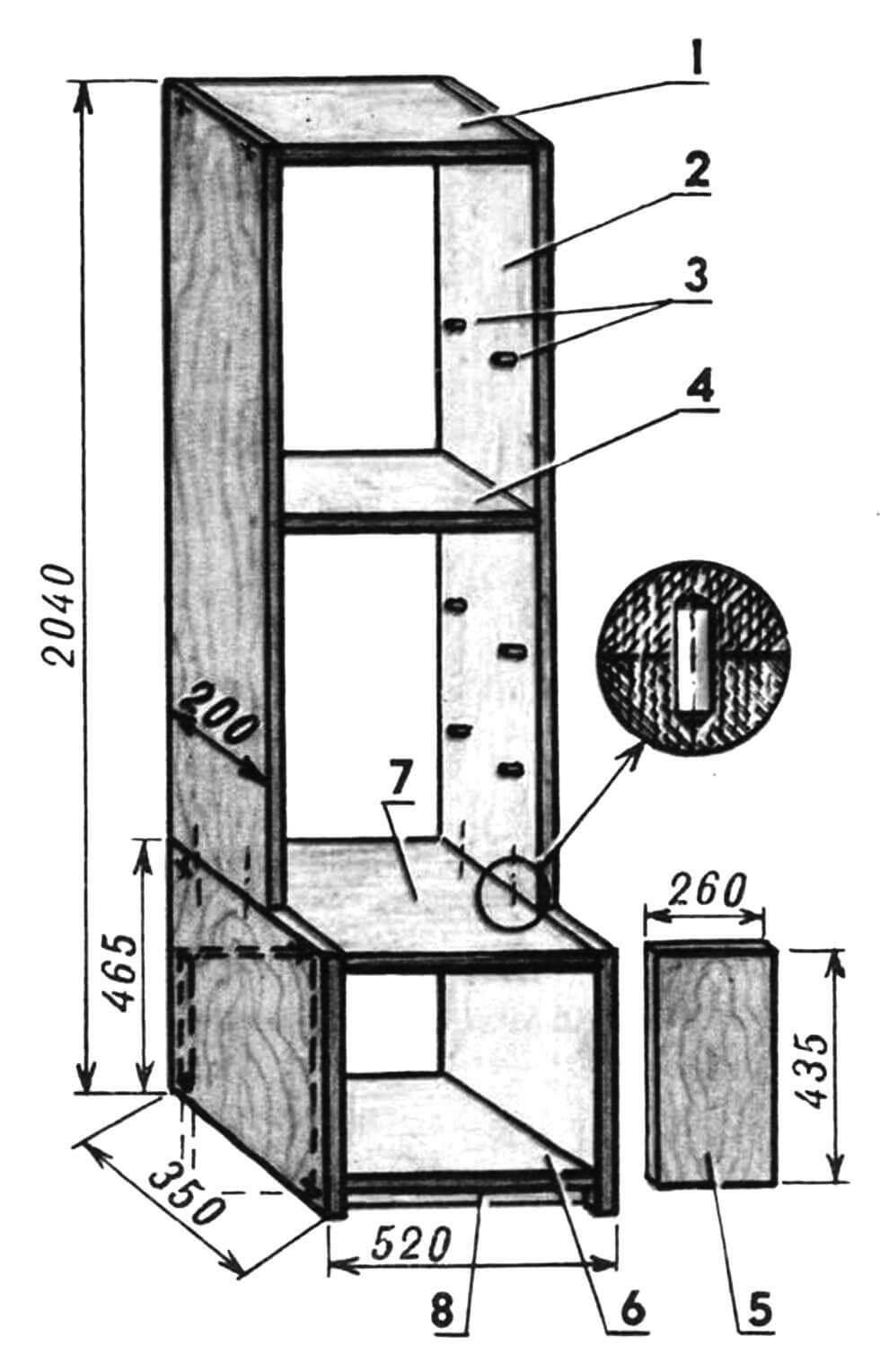 Колонка с тумбочкой: 1 — крышка колонки; 2 — боковина (2 шт.); 3— опоры полок (16 шт.); 4 — полка (4 шт.); 5 — дверка (2 шт.); 6 — днище; 7 — крышка тумбочки; 8 — опора днища (брусок, 2 шт.).