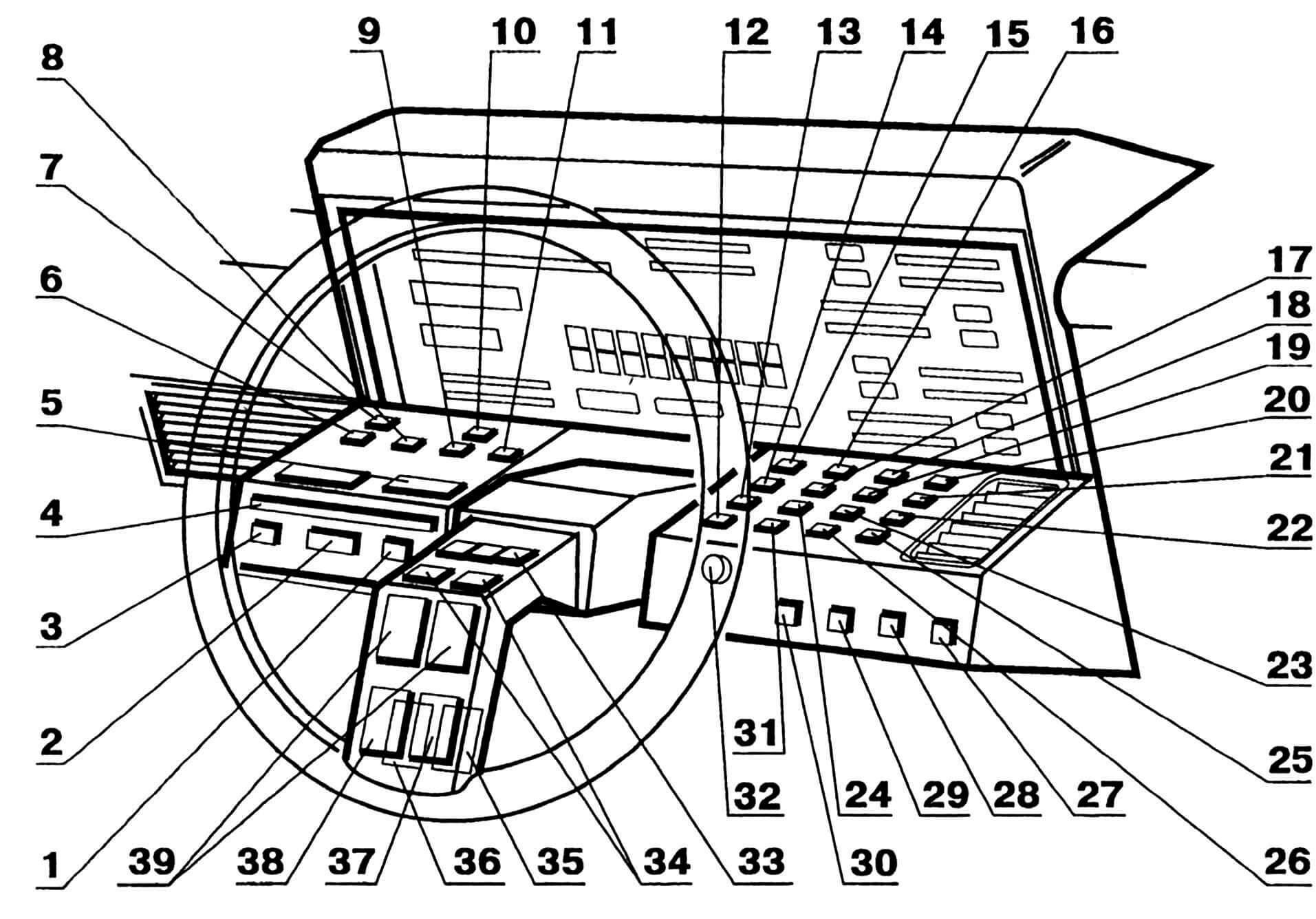 Приборная панель автомобиля ASTON MARTIN LAGONDA: 1,2,3 — клавиши управления коробкой передач (КПП); 4 — индикатор КПП для ночного времени; 5 — клавиша включения задней передачи; 6,8,9 — переключатели топливных баков; 7 — включатель обогрева заднего стекла; 10,11 — включатели омывателя заднего стекла; 12,13 — клавиши управления стеклоочистителями; 14 — 26 — клавиши установки текущего времени; 27 — включатель головных фар; 28,29 — включатели указателей поворотов; 30 — включатель плафонов салона; 31 — включатель подсветки дисплея; 32 — кнопка сигнала аварийной остановки; 33 — клавиша круиз-контроля; 34 — переключатели (ближний-дальний) света; 35 — 38 — клавиши управления (дублированное) стеклоочистителями; 39 — кнопки звукового сигнала.