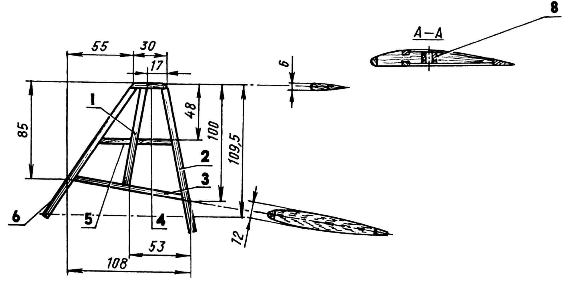 Киль: 1 — лонжерон (сосна, рейка 12x6);2 — кромка задняя (сосна 12x5); 3,4,5 — нервюры (сосна, рейка 12x6); 6 — кромка передняя (сосна, рейка 6x6).