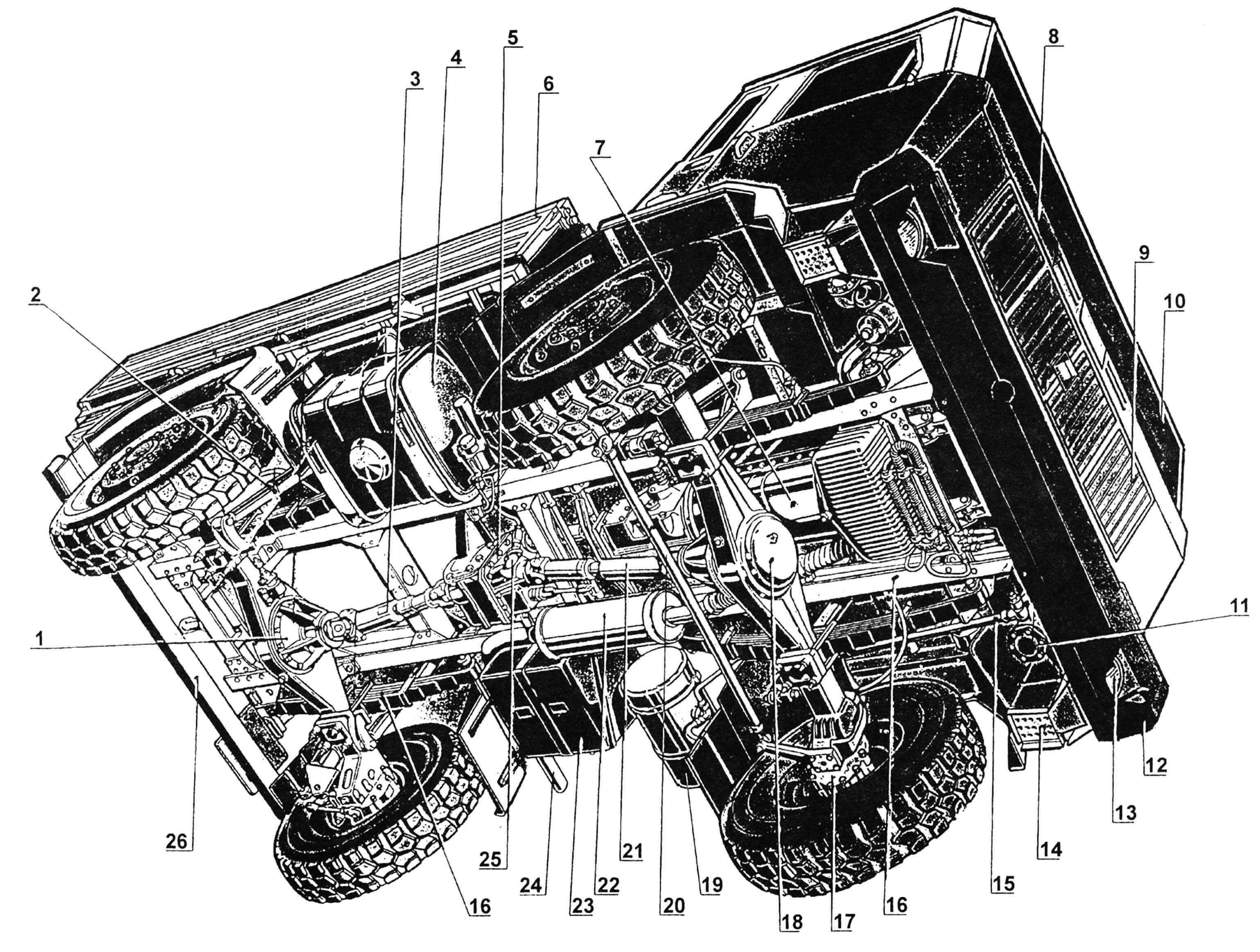 Компоновка: 1 — передача главная и дифференциал; 2 — амортизатор; 3,21 валы карданные; 4 — бак топливный; 5 — коробка раздаточная; 6 — платформа грузовая; 7 — двигатель; 8 — кабина; 9 — облицовка радиатора; 10 — стекло лобовое; 11 — механизм рулевой; 12 — бампер; 13 — фара; 14 — подножка; 15 — тяга рулевая, продольная; 16 — лонжерон рамы; 17 — редуктор колесный; 18 — редуктор переднего моста; 19 — рессивер гидросистемы; 20 — тяга рулевая, поперечная; 22 — глушитель; 23 — ящик аккумуляторный; 24 — труба выхлопная; 25 — гидронасос; 26 — брус отбойный.