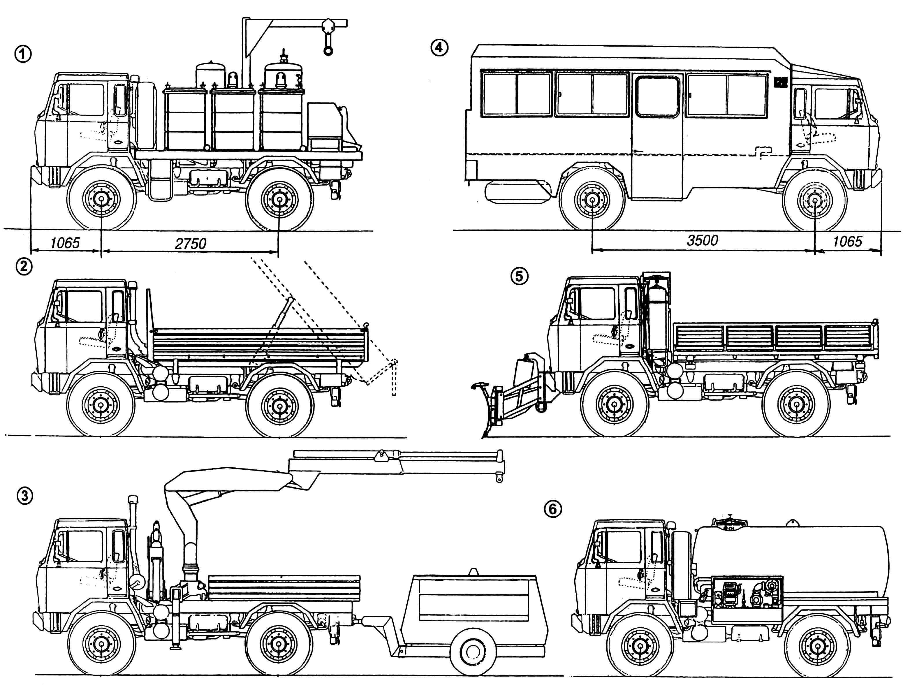 Модификации автомобиля на базе шасси IVECO-FIAT 75 PC: 1 — транспортер баллонов со сжиженным газом; 2 — самосвал трехсторонний; 3 — кран подъемный с компрессором на прицепе; 4 — машина вахтовая; 5 — снегоуборочная машина; 6 — цистерна.