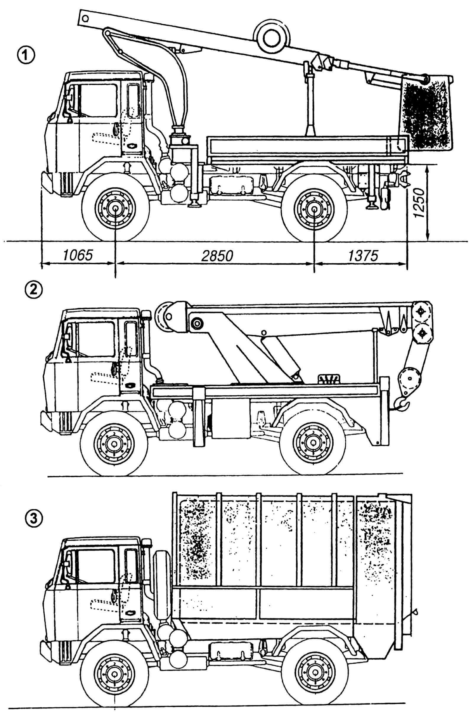 Модификации автомобиля на базе шасси IVECO-FIAT 90 PC: 1 — «скай-лифт»; 2 — кран подъемный; 3 — мусоровоз.