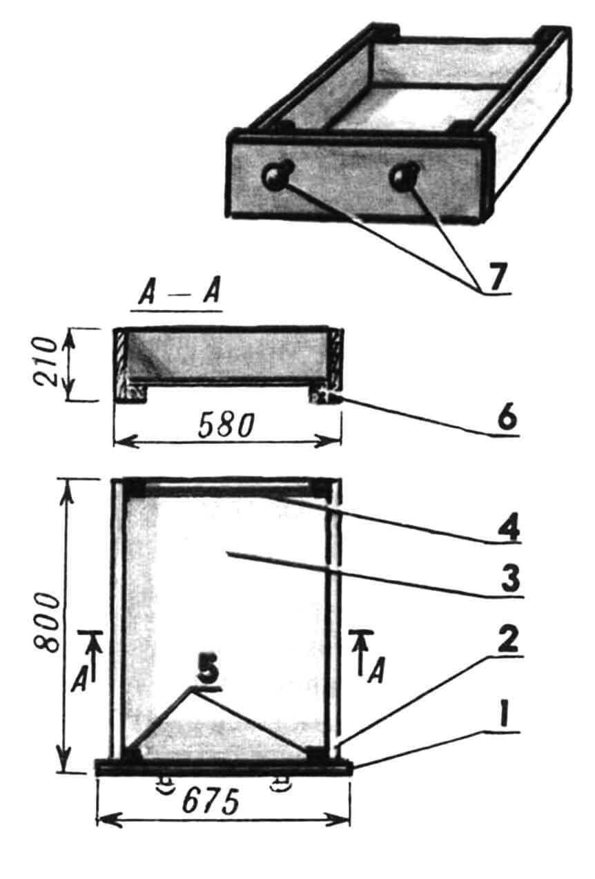 Подкроватиый ящик: 1 — панель передняя; 2 — боковина (781x210x19,2 шт.); 3 — днище (оргалит); 4 — стенка задняя (оргалит); 5 — брус вертикальный (4 шт.); 6 — брус горизонтальный (2 шт.); 7 — ручки.