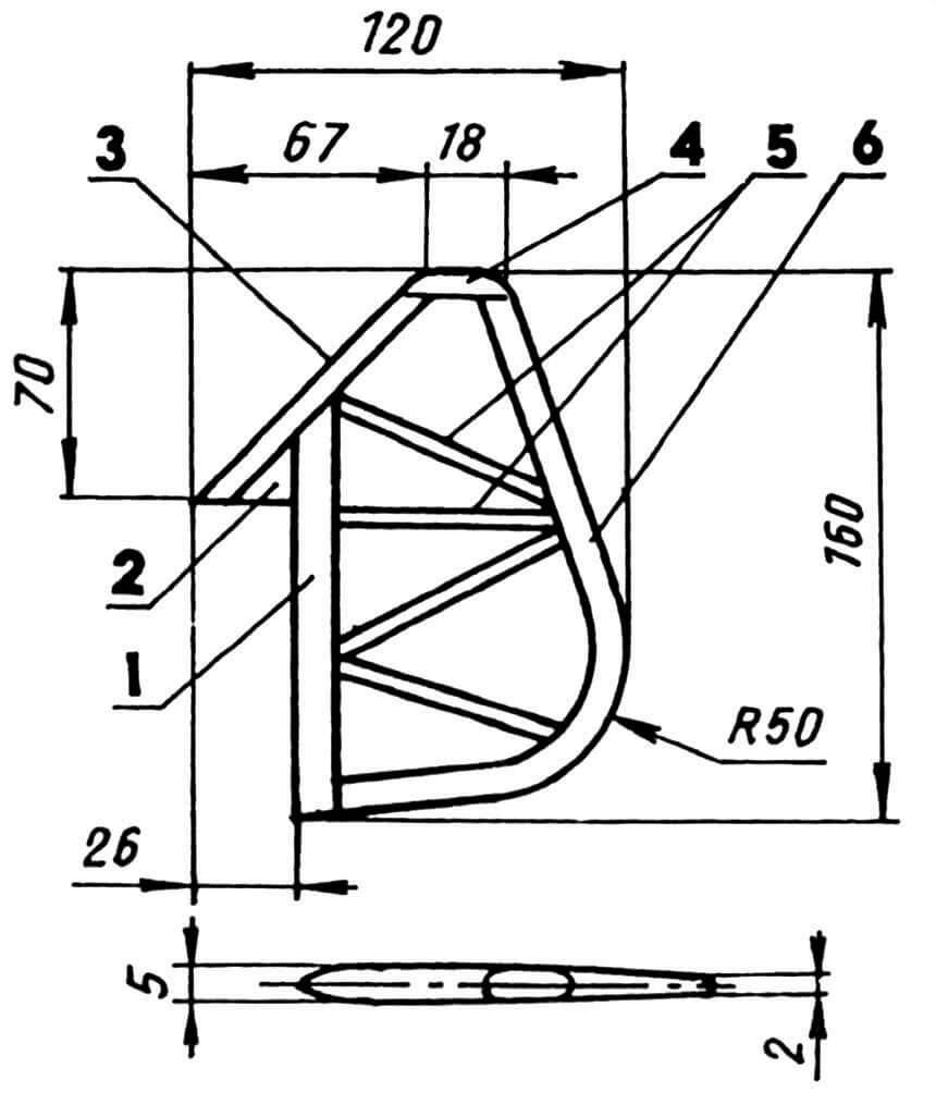 Руль направления: 1 — кромка руля, передняя (сосна, рейка 10x5); 2 — вставка (липа); 3 — кромка передняя (сосна, рейка 7x5); 4 — законцовка (сосна, рейка 7x5); 5 — нервюры (сосна, рейка 5x3); 6 — кромка задняя (фанера s3).
