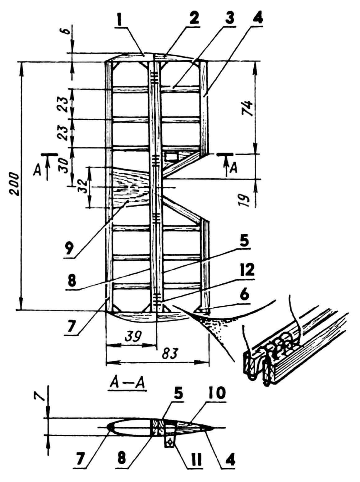 Горизонтальное оперение модели: 1 — законцовка стабилизатора (липа, рейка 10x6); 2 — законцовка руля высоты (липа, рейка 10x6); 3 — нервюра (сосна, пластина s3); 4 — кромка руля, задняя (сосна, рейка 12x4); 5 — кромка руля, передняя (сосна, рейка 10x5); 6 — косынка усиливающая (фанера березовая, s2); 7 — носок стабилизатора (сосна, рейка 8x5); 8 — кромка стабилизатора, задняя (сосна, рейка 10x5); 9 — заполнение (липа); 10 — заполнение (липа); 11 — кабанчик руля высоты (дюралюминий, s1,5); 12 — петля навески (капроновая нить).