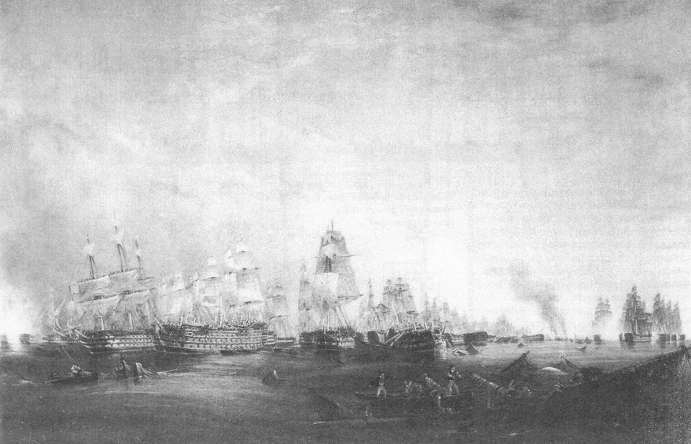 На полотне Роберта С. Томаса показан момент сдачи испанского четырехдечного линкора «Сантисима Тринидад» британскому кораблю «Нептюн» (полное название картины - «Surrender of the Santisima Trinidad to Neptune, The Battle of Trafalgar, 3 PM, 21st October 1805»)