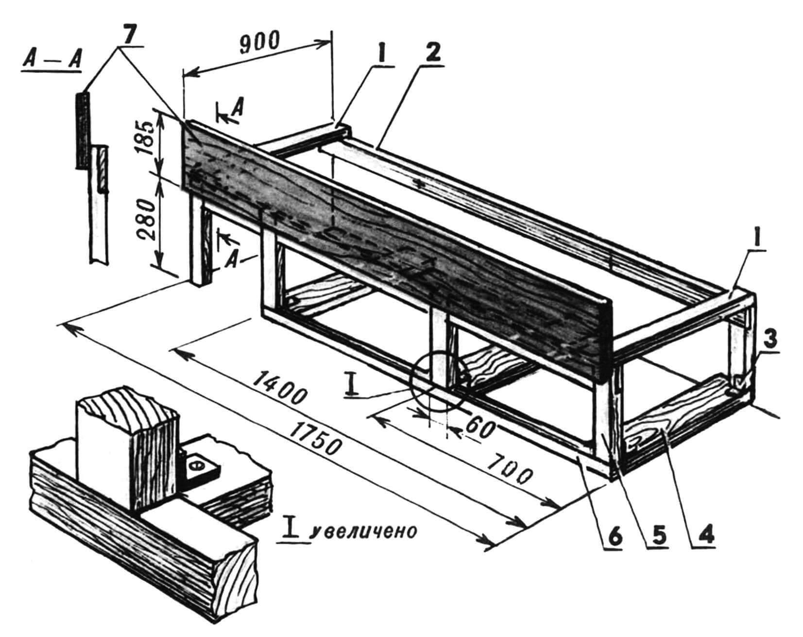 Нижняя кровать: 1 — брусья рамы поперечные (881x50x30); 2 — брус рамы продольный (1750x50x30, 2 шт.); 3 — уголок мебельный (4 шт.); 4 — направляющие (доска, 821x80x30, 3 шт.); 5 — стойка (5 шт.); 6 — брус напольный (1400x50x30); 7 — ограждение (1750x185x19).