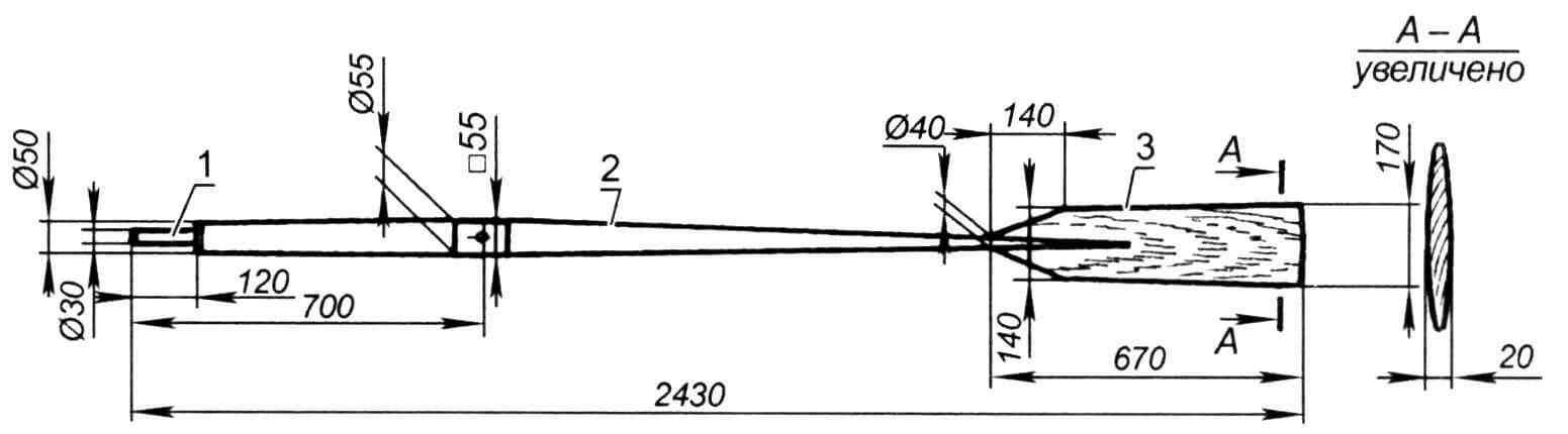 Весло (материал - ель): 1 - рукоятка; 2 - веретено; 3 - лопасть