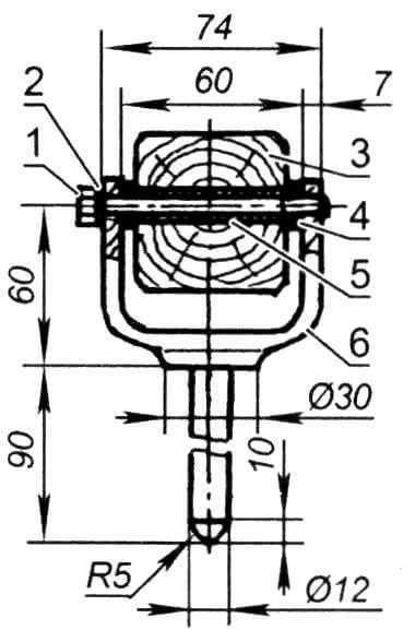 Узел установки весла: 1 - болт М8; 2 - пружинная шайба; 3 - весло; 4 - шайба (фторопласт, труба 16x4 мм, 2шт.); 5 - втулка (фторопласт, труба 12x2 мм); 6 - уключина