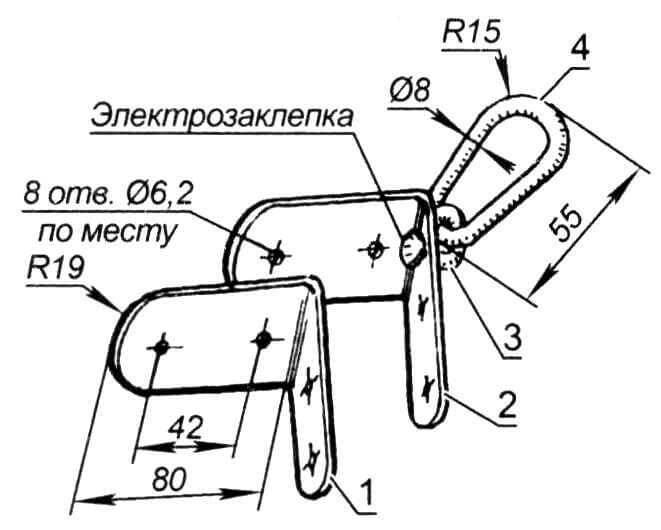 Носовое буксировочное устройство: 1- внутренняя накладка (сталь, лист s2 мм); 2 - внешняя накладка (сталь, лист s2 мм); 3 - кольцо (сталь, пруток ø 8 мм); 4 - рым (сталь, пруток ø 8 мм)