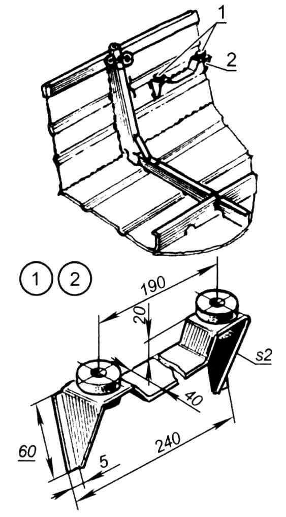 Упор съемной банки (левый борт): 1- амортизационные втулки (резина, L20 мм); 2 - кронштейн (сталь, лист s2 мм)