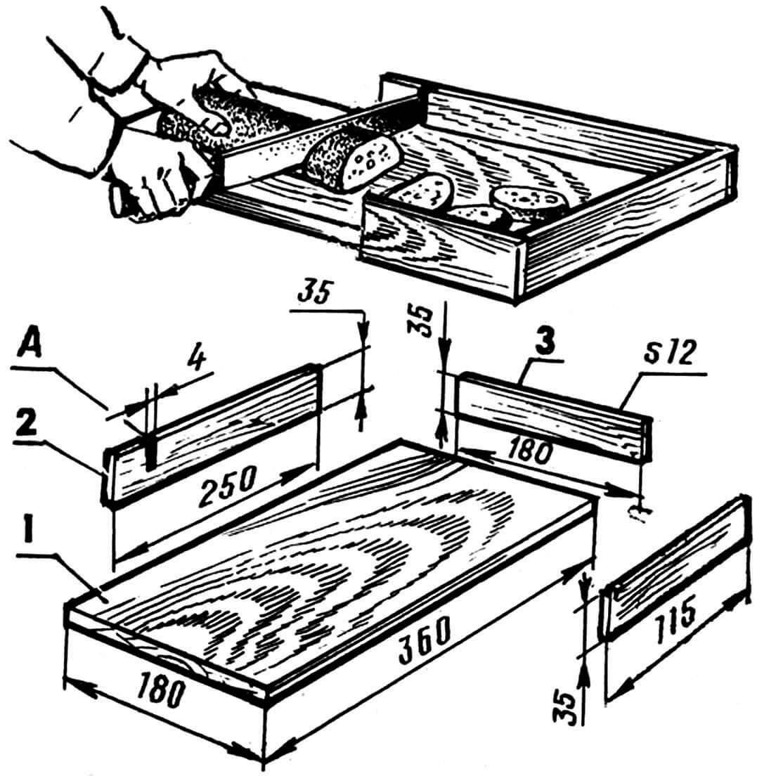 Рис. 1. Разделочная доска с бункером: 1 — доска (20x180x360 мм), 2 — боковая стенка бункера (фанера 12x35x250 мм, 2 шт.), 3 — задняя стенка бункера (фанера 12x35x180 мм); А — прорезь для ножа.