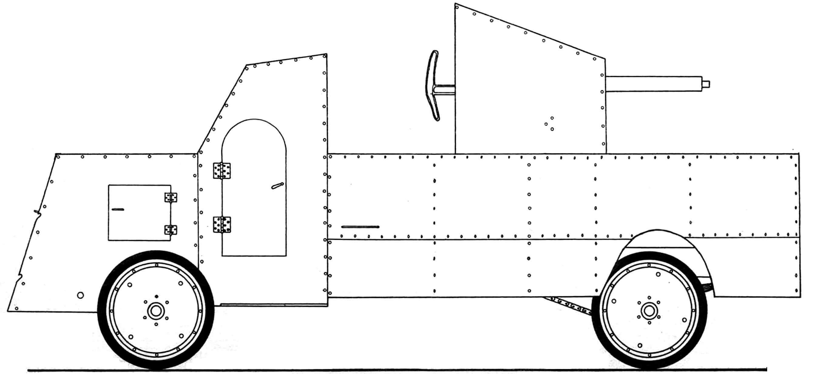 Пушечный бронеавтомобиль «ПАККАРД», 1915 год.