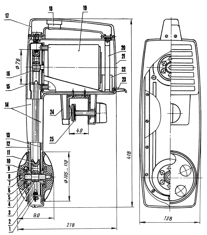 Рис. 1. Стиральная машина «Влада» (с ременной передачей): 1 — стяжка полукорпусов привода (с эластичной прокладкой), 2 — приводной ремень, 3 — вкладыш шкива, 4 — уплотнение, 5 — гайка, 6 — манжета, 7 — вал активатора, 8 — вкладыш активатора, 9 — активатор, 10 — втулка активатора, 11 — ведомый шкив, 12 — полукорпус привода передний, 13 — полукорпус привода задний, 14 — декоративные панели, 15 — ведущий шкив, 16 — вкладыш шкива, 17 — ручка машины, 18 — выключатель, 19 — электродвигатель, 20 — кронштейн двигателя, 21 — декоративная панель двигателя, 22 — конденсатор, 23 — шнур питания, 24 — струбцина, 25 — пятка струбцины с мягкой накладкой.