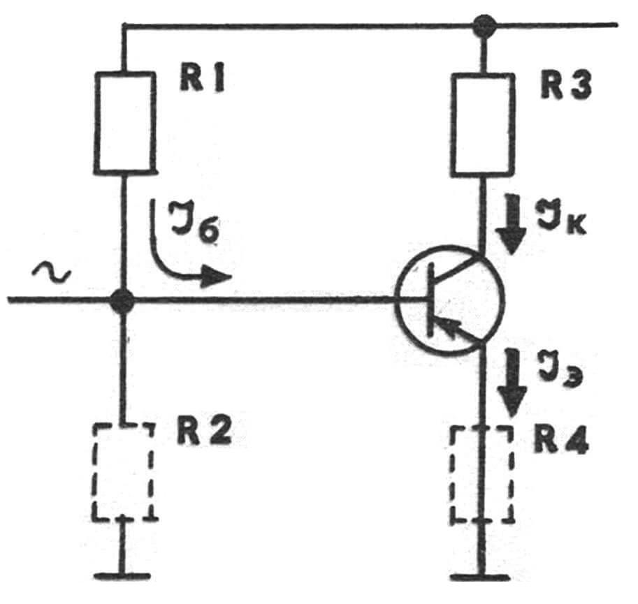 Рис. 2. Транзистор — усилитель звукового сигнала.