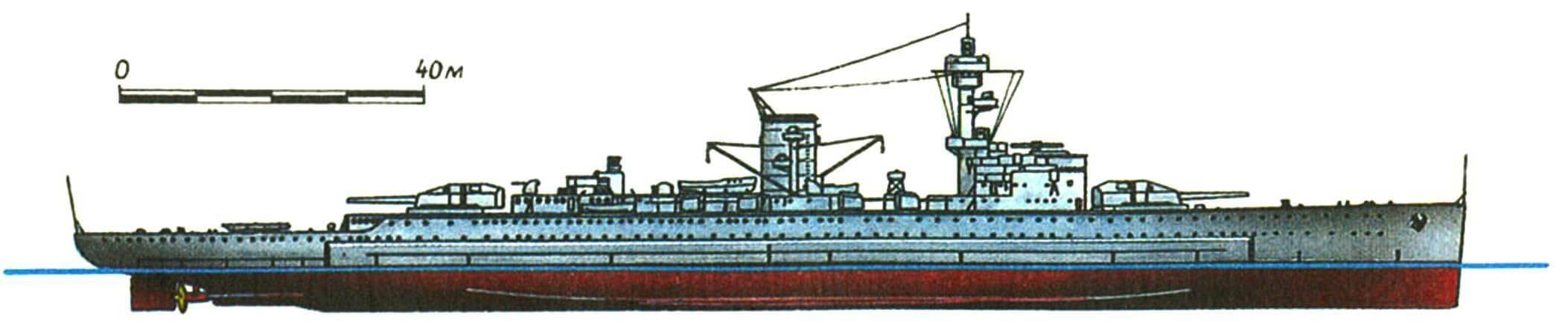 229. «Карманный линкор» «ДОЙЧЛАНД», Германия, 1933 г. Заложен в 1929 г., спущен на воду в 1931 г. Водоизмещение стандартное 10 600 т, нормальное 12 630 т, полное 14 290 т. Длина наибольшая 186 м, ширина 20,7 м, осадка 7,25 м. Мощность дизельной установки 50 000 л.с., скорость 28 уз. Броня: пояс 80—60 мм, палуба до 40 мм, противоторпедная переборна 40 мм, башни до 140 мм, рубка 150 мм. Вооружение: шесть 283-мм и восемь 150-мм орудий, три 88-мм зенитки, четыре 37-мм и десять 20-мм автоматов, 8 торпедных аппаратов, 2 гидросамолета. Всего построено 3 единицы: «Дойчланд» (в ноябре 1939 г. переименован в «Лютцов»), «Адмирал Шеер» (1934 г.) и «Адмирал граф Шпее» (1936 г.). Последние два отличались улучшенным бронированием (палуба до 45 мм) и возросшим водоизмещением (полное соответственно 15 180 и 16 020 т). Зенитное вооружение впоследствии неоднократно усиливалось. «Адмирал граф Шпее» затоплен 17 декабря 1939 г. у Монтевидео после боя с английскими крейсерами. Остальные два уничтожены в базах союзной авиацией в апреле 1945 г.