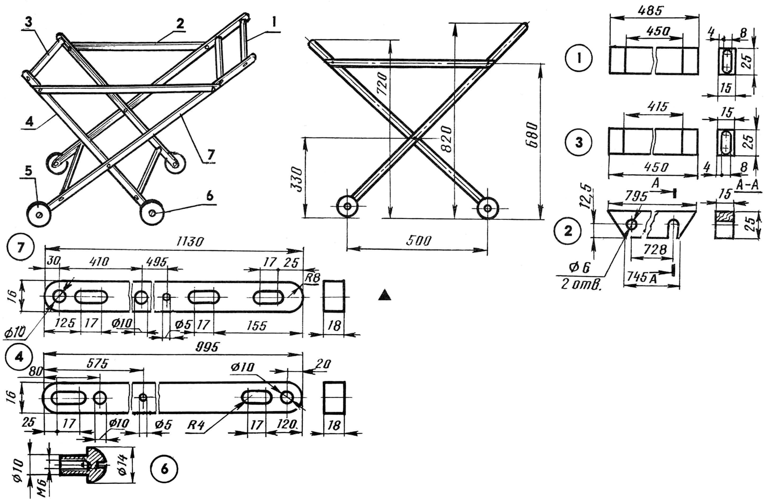 Рис. 1. Каркас тележки: 1 — поперечные элементы внешней рамки (3 шт.), 2 — стяжка (2 шт.), 3 — поперечины внутренней рамки (2 шт.), 4,7 — продольные элементы рамок (4 шт.), 5 — колесо (4 шт.), 6 — ось-втулка (4 шт., бронза).