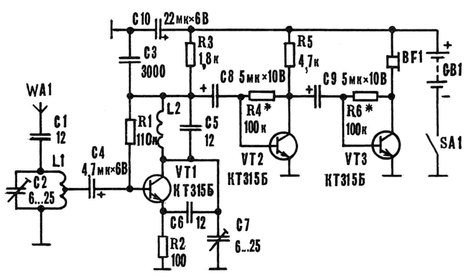 Принципиальная электрическая схема автономной радиокассеты для магнитофона.