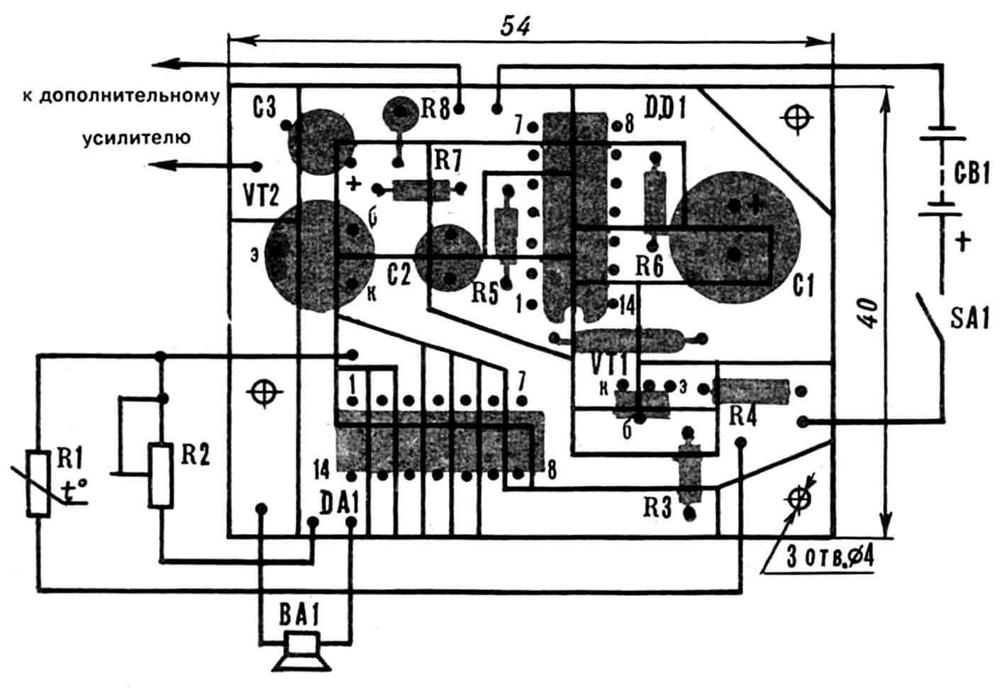 Печатная плата с указанием расположения на ней радиоэлементов.