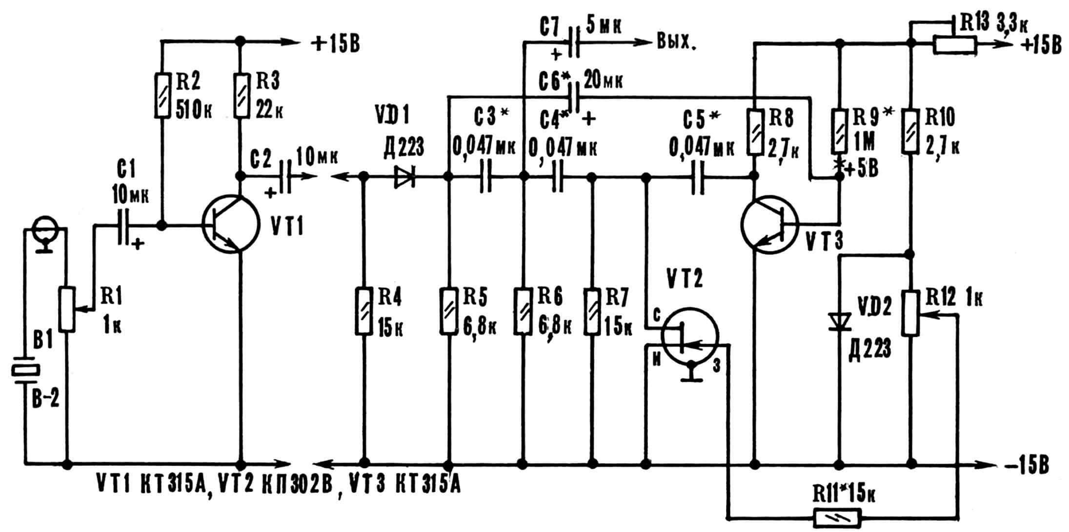 Рис. 2. Принципиальная схема предусилителя и заторможенного автогенератора.