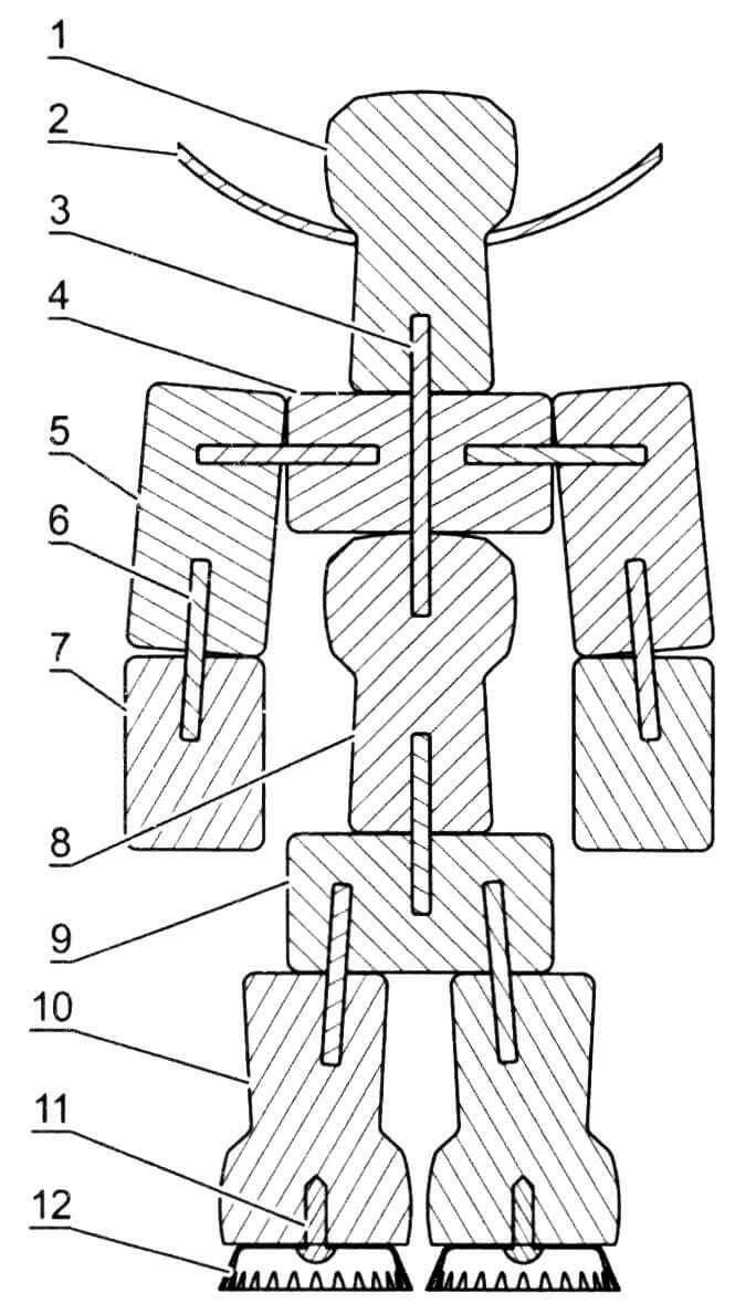 Конструкция фигурки: 1 - голова (пробка большая); 2 - шляпа (картон упаковочный s2, наружный диаметр 100 мм, диаметр отверстия 22 мм); 3 - штифт длинный (палочка бамбуковая ø 3 мм, длина 40 - 45 мм); 4 - грудь (пробка средняя); 5 - плечо (пробка средняя, 2 шт.); 6 - штифт короткий (палочка бамбуковая ø 3, длина 20 - 25); 7 - предплечье (пробка средняя укороченная, 2 шт.); 8 - живот (пробка большая); 9 - таз (пробка средняя); 10 - нога (пробка большая, 2 шт.); 11 - винт (М3х10 мм, 2 шт.); 12 - подошва (крышка металлическая, 2 шт.)