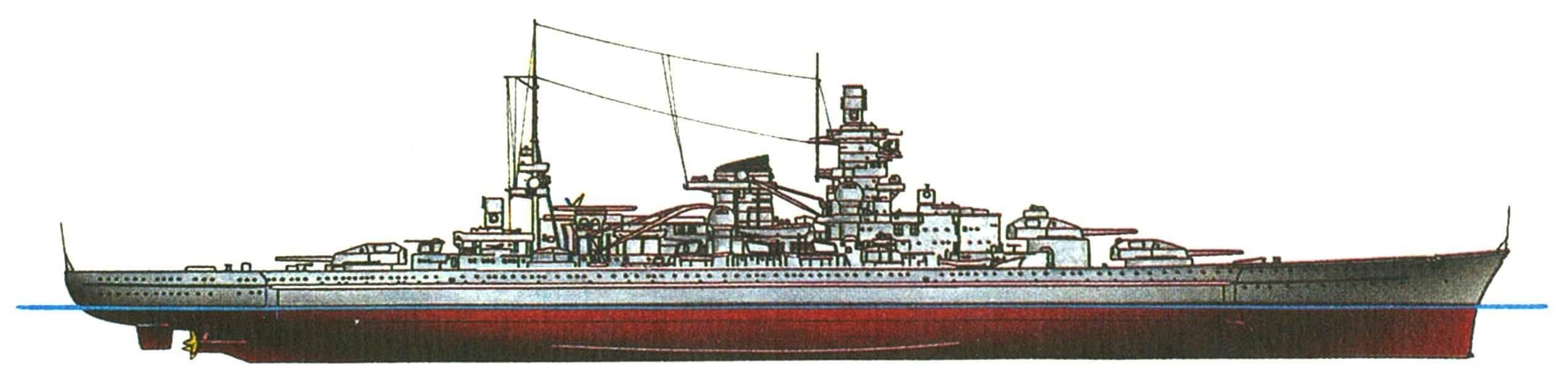230. Линкор «ГНЕЙЗЕНАУ», Германия, 1938 г. Заложен в 1934 г., спущен на воду в 1936 г. Водоизмещение стандартное 32 100 т, нормальное 35 540 т, полное 38 100 т. Длина наибольшая 229,8 м (234,9 м после переделки форштевня), ширина 30 м, осадка 9,9 м. Мощность паротурбинной установки 160 000 л.с., скорость 31 уз. Броня: пояс 350—170 мм, верхний пояс до 45 мм, палубы 50 + 80 мм, башни до 360 мм, башни среднего калибра до 140 мм, рубка до 350 мм. Вооружение: девять 283-мм и двенадцать 150-мм орудий, четырнадцать 105-мм зениток, шестнадцать 37-мм и десять 20-мм автоматов, 6 торпедных аппаратов (установлены в 1942 г.), 4 гидросамолета. Всего построено 2 единицы: «Гнейзенау» и «Шарнхорст» (1939 г.).